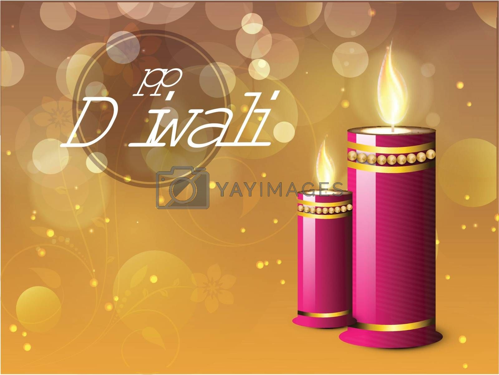 Creative glossy candle on glowing floral background, Elegant Greeting Card design for Indian Festival of Lights, Happy Diwali celebration.