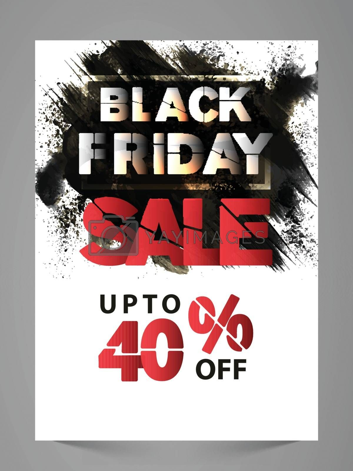 Stylish Black Friday Sale Poster, Banner, Flyer or Pamphlet with Discount Upto 40% Off.