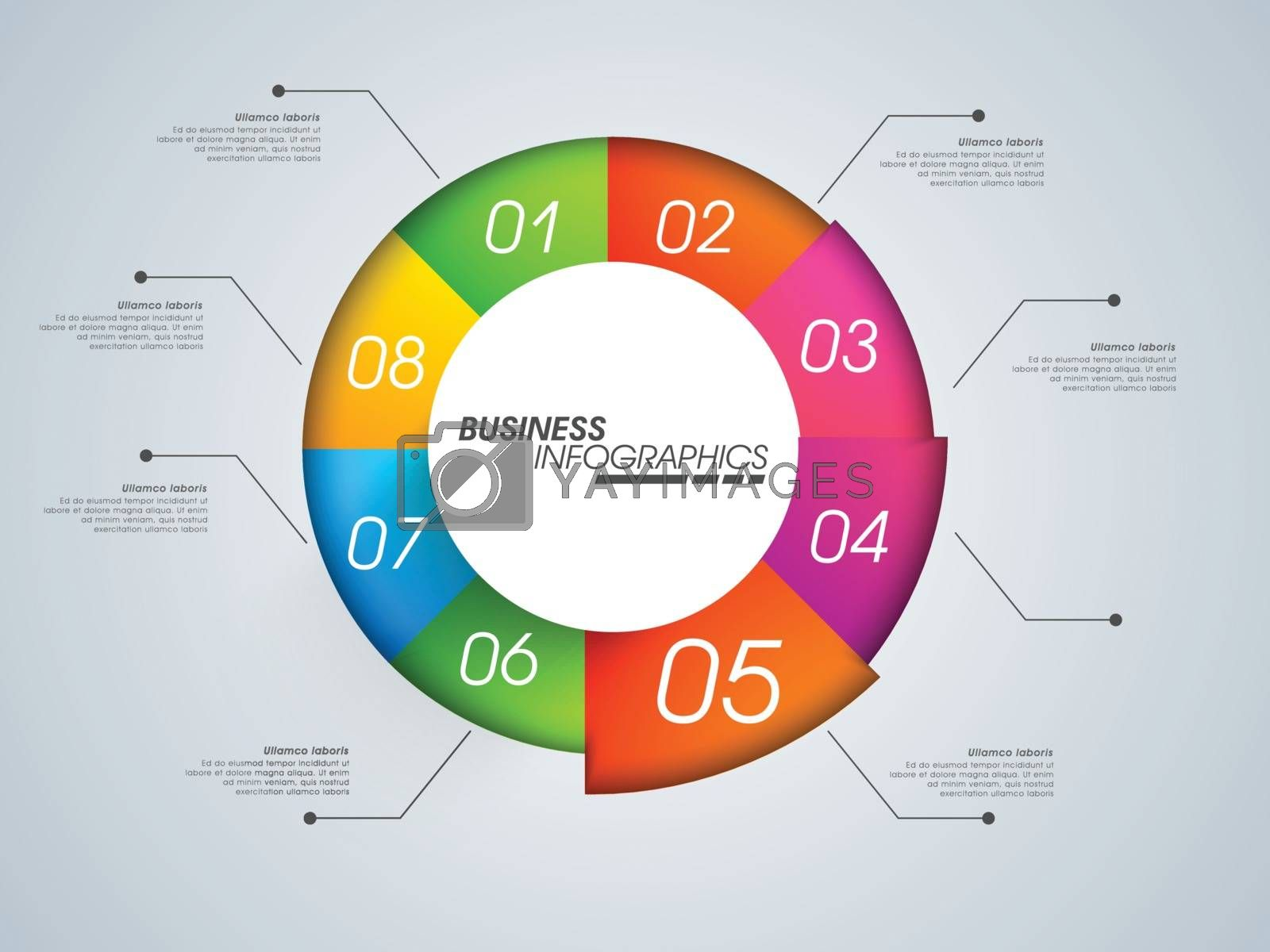 Colorful infographic circle graph for Business concept, Can be used for workflow layout, business reports and data presentation.