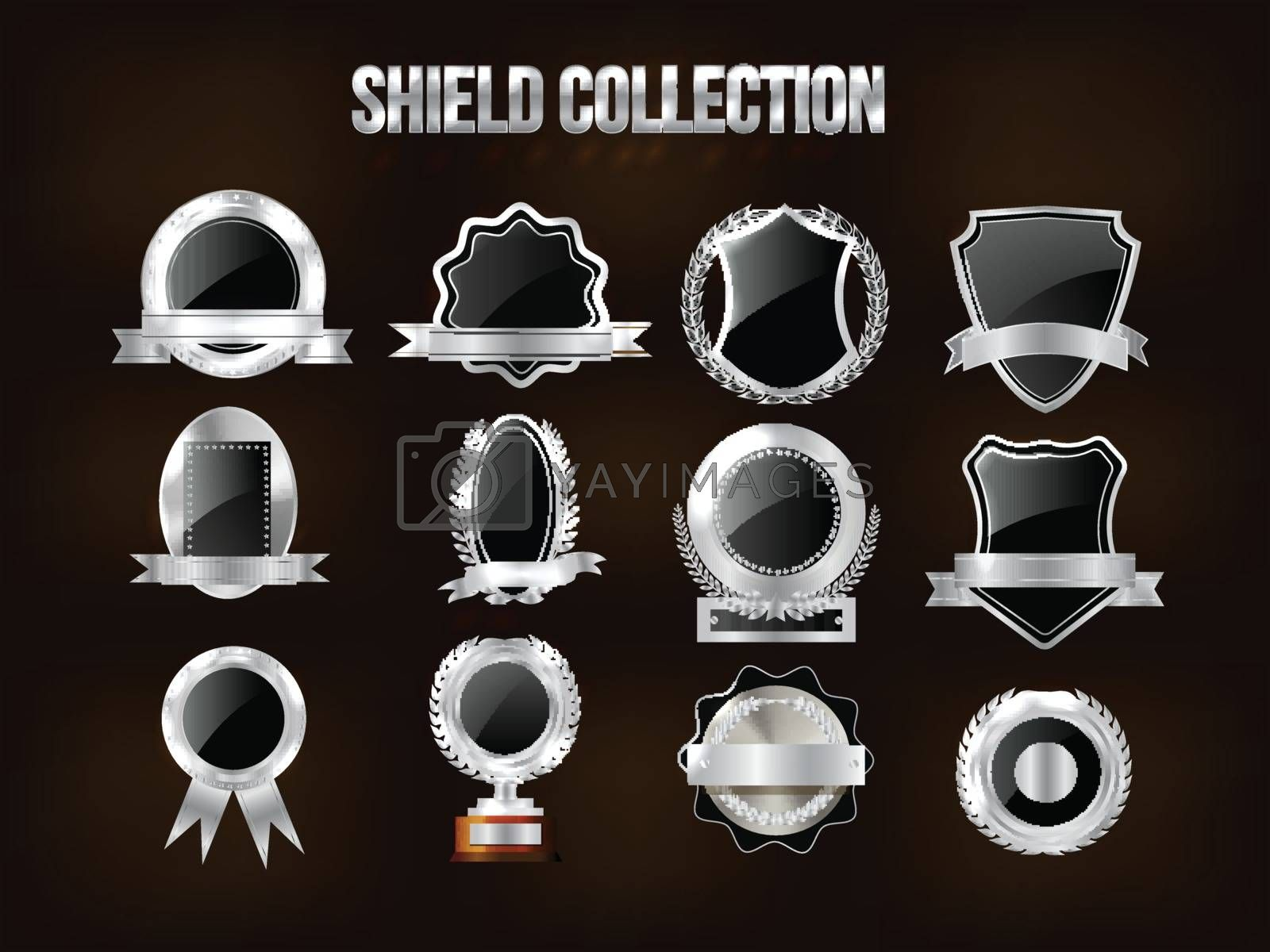 Collection of Silver Shield, Badge, Label, Award or Ribbons, Vector illustration.