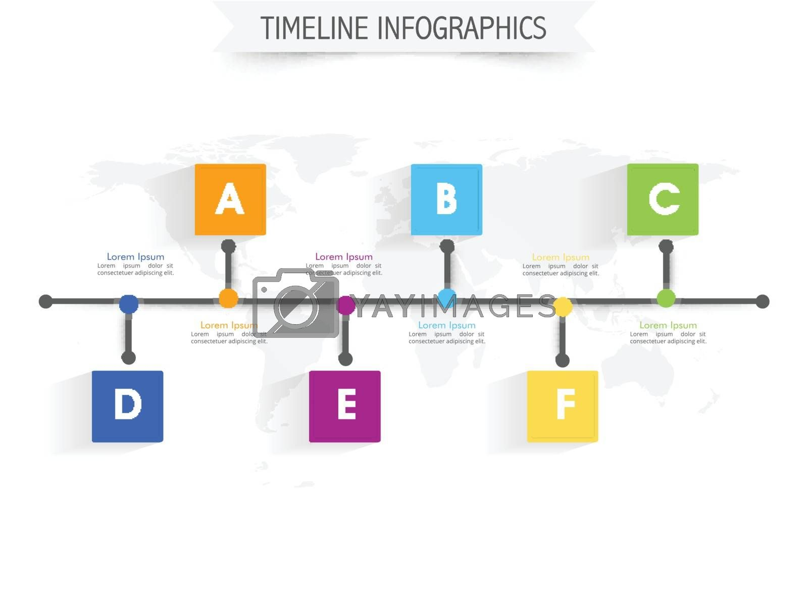 Timeline infographic elements with colorful pointers on world map, Vector illustration for Business concept.