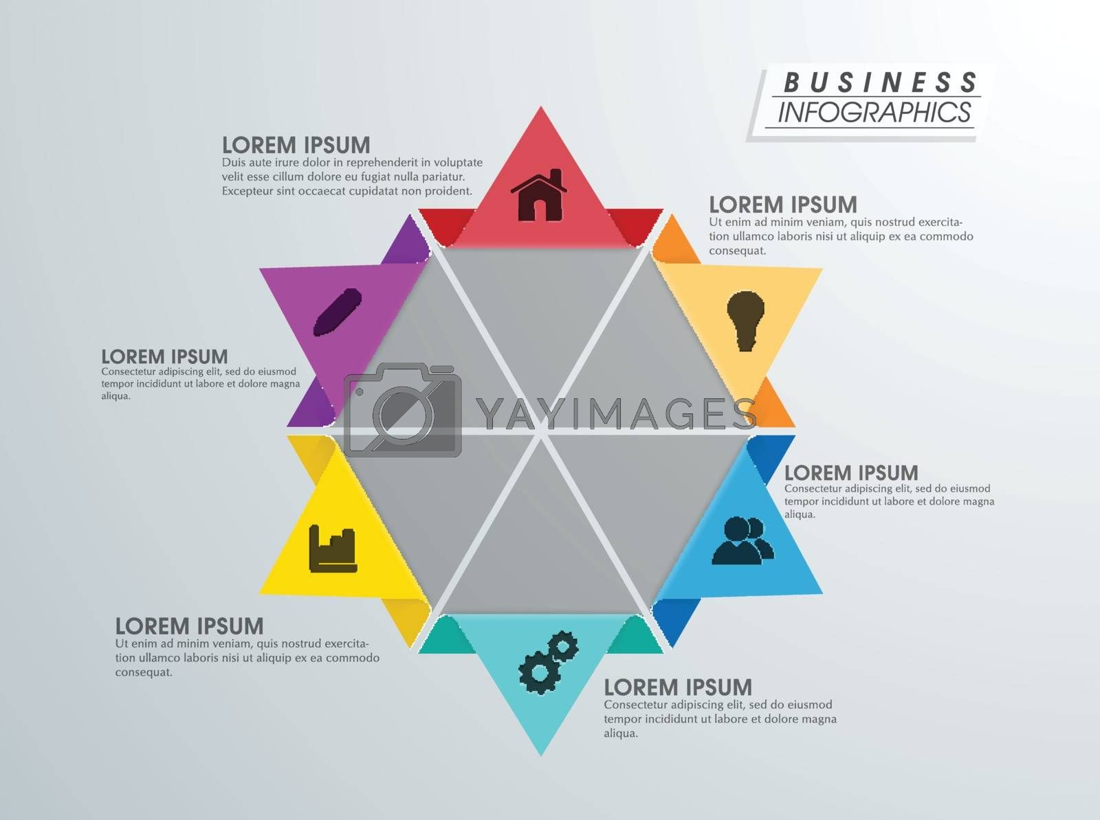 Creative colorful infographic element with different symbols for Business purpose.
