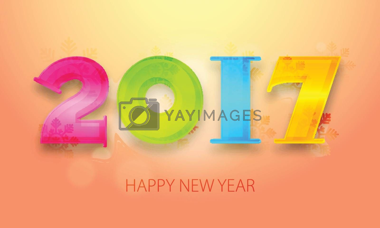 Glossy Colorful Text 2017 on snowflakes decorated background, Elegant Greeting Card design for Happy New Year celebration.