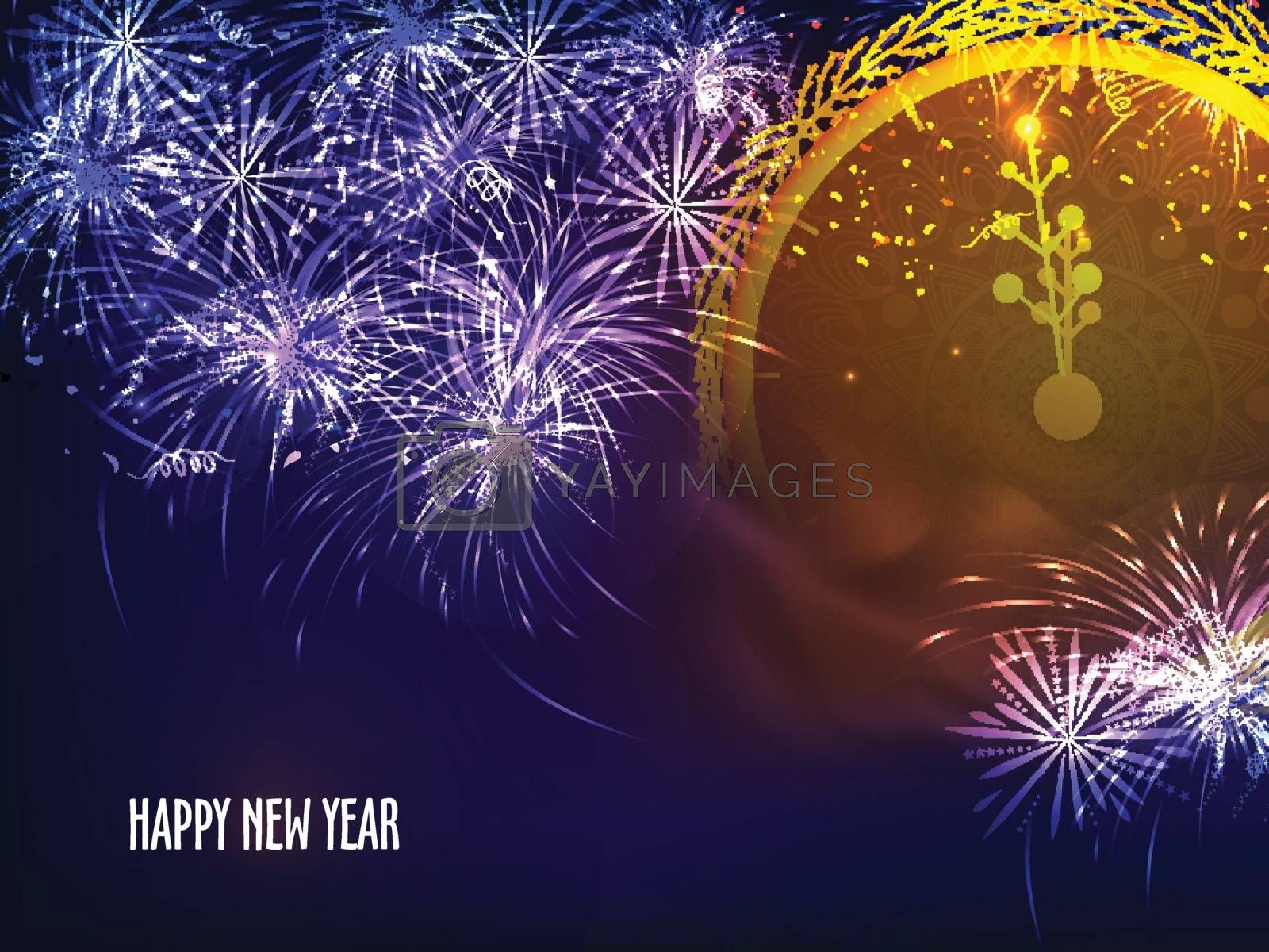 Sparkling festive background with firework explosion. Creative clock showing midnight time for Happy New Year celebration.