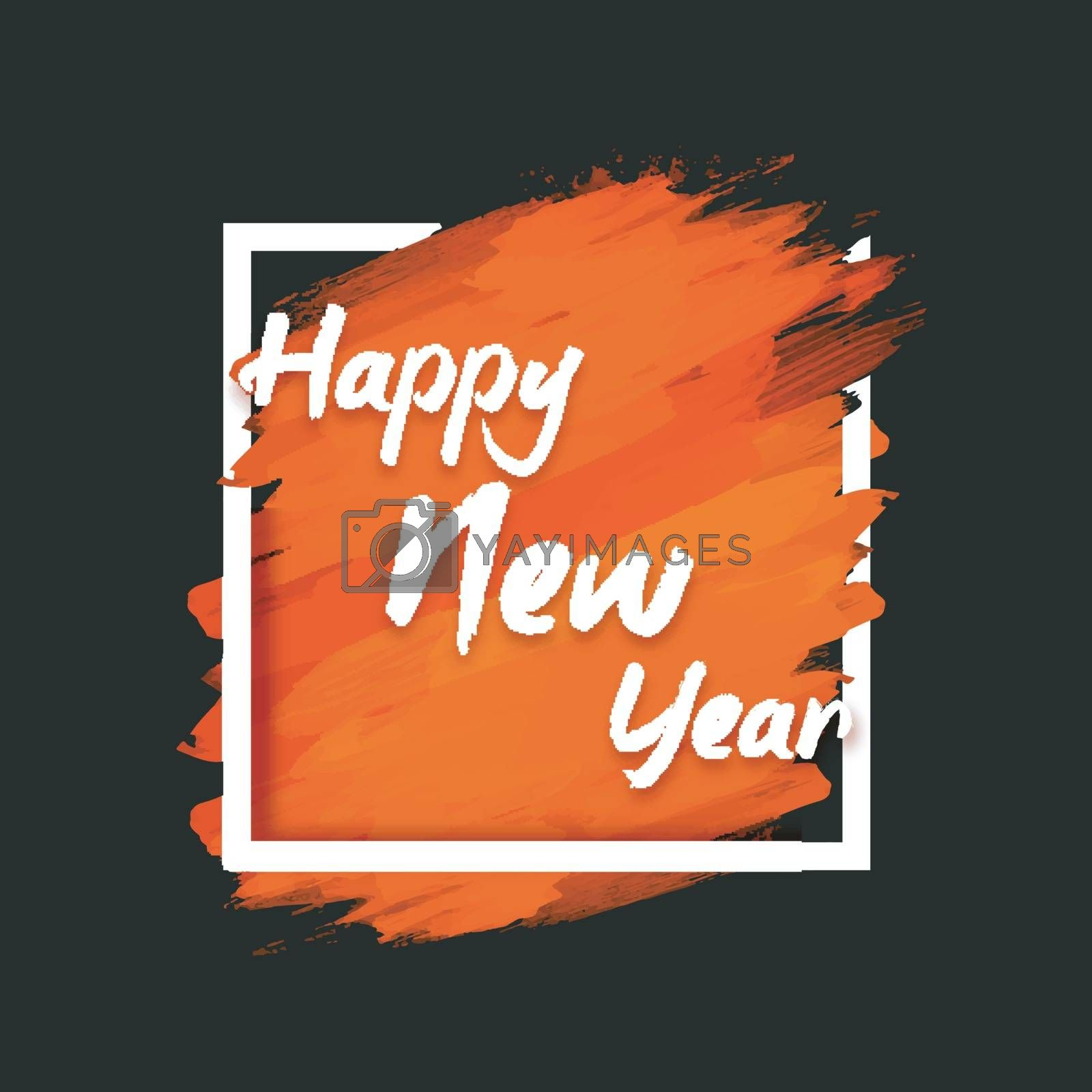 White text Happy New Year on abstract background. Elegant Greeting Card design. Creative vector illustration.