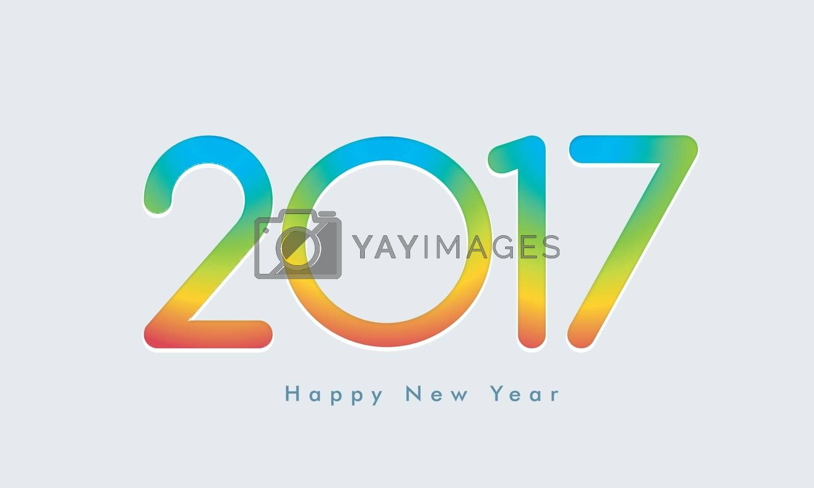 Greeting card with colorful glossy Text 2017 for Happy New Year Celebration.