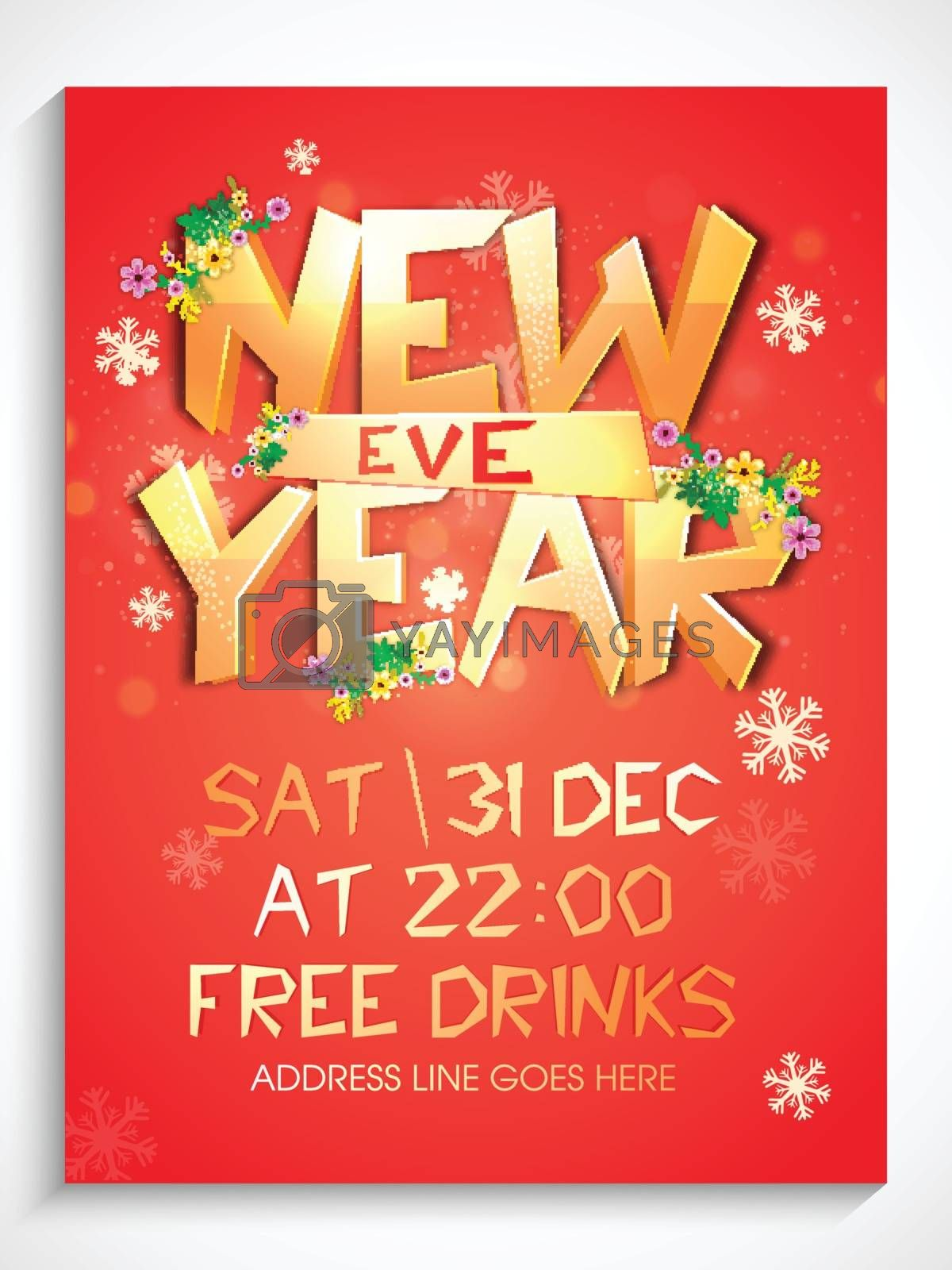 Golden Text New Year Eve on snowflakes decorated background. Can be used as template, banner, flyer or invitation card design.
