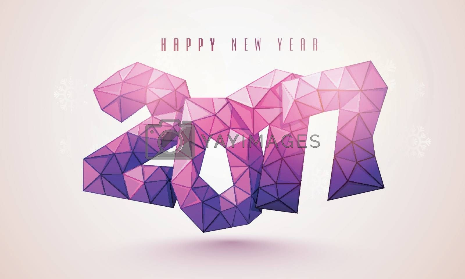 Creative low-poly style text 2017 on shiny background for Happy New Year celebration.