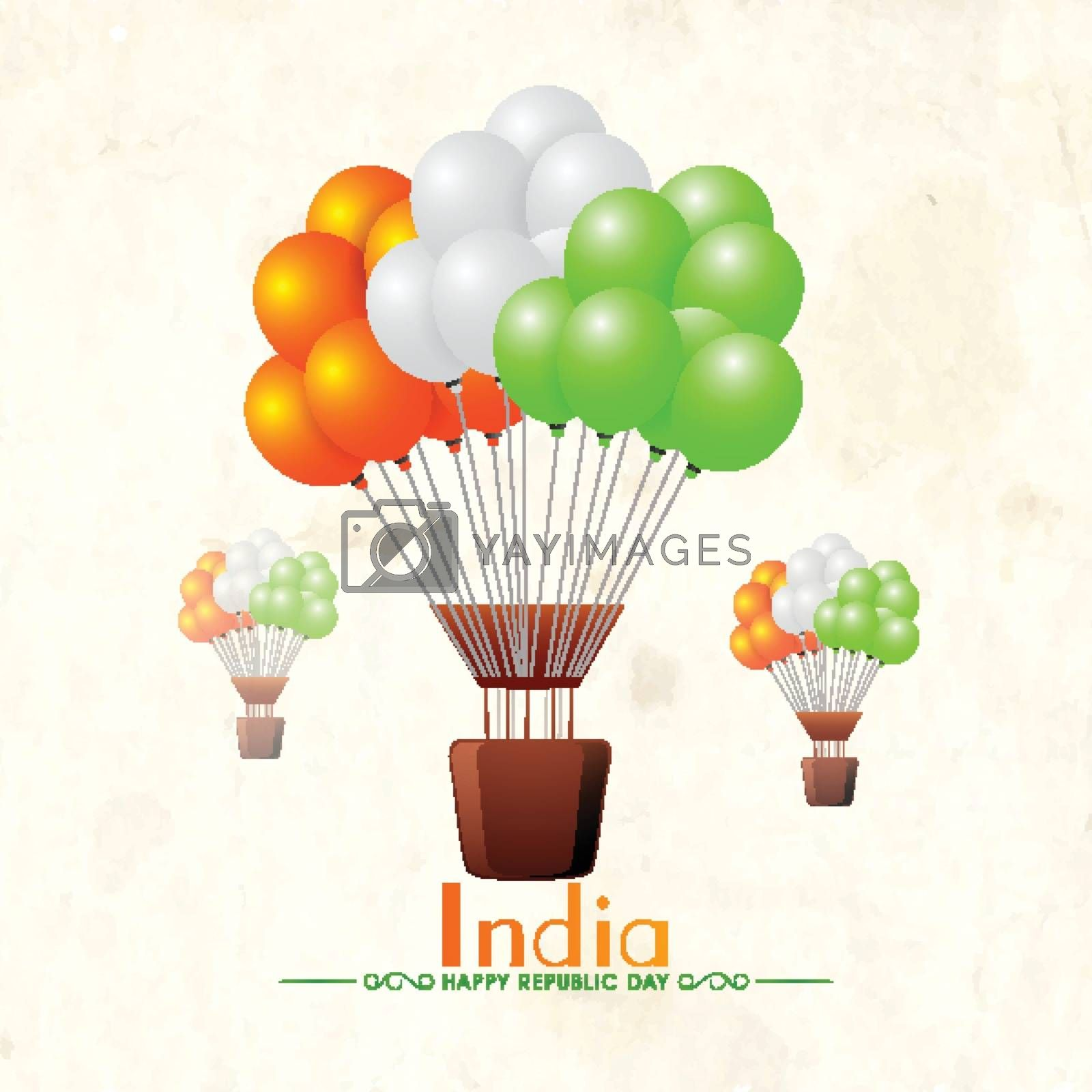 Happy Indian Republic Day Celebration concept with National Flag Colours Balloons.