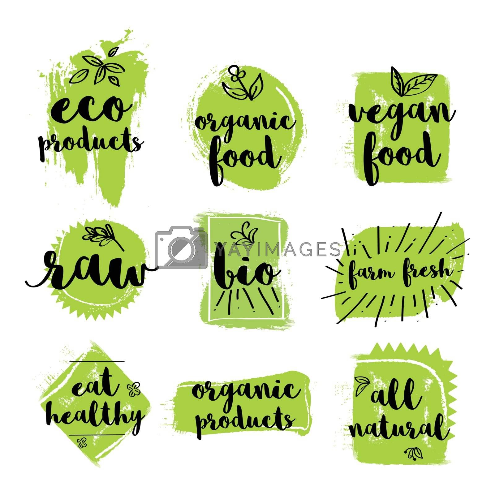 Set of Eco, Organic, Vegan, Raw, Bio, Farm Fresh and Natural Products or Foods Labels, Creative hand drawn lettering design for Healthy Food concept, Green Stickers, Badges and Tags collection.