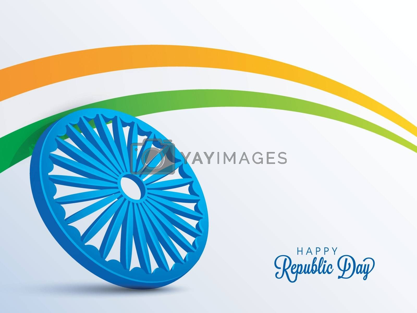 3D Ashoka Wheel with National Tricolor Stripe. Happy Indian Republic Day celebration Poster, Banner or Flyer design.