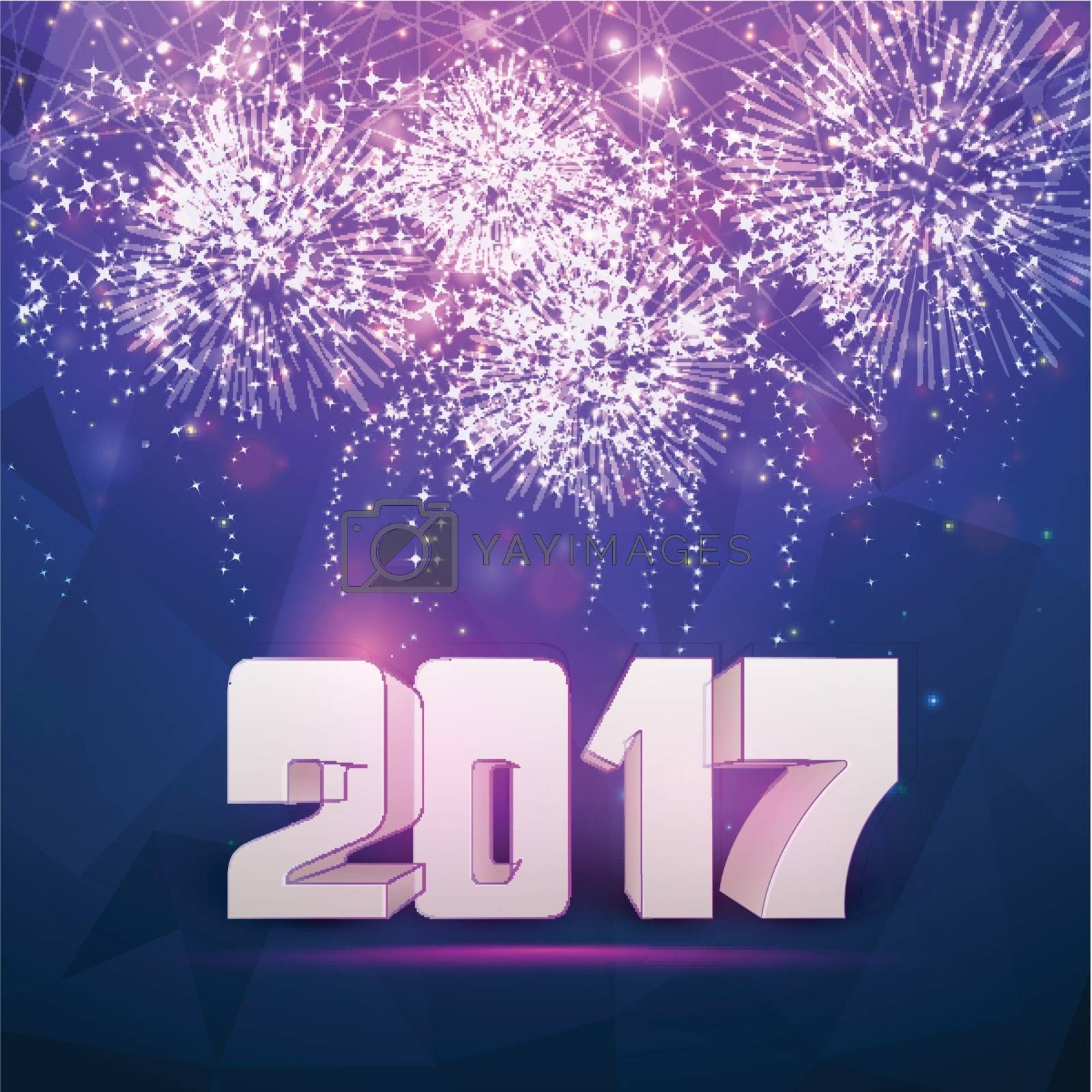 Beautiful festive background with firework explosion. Creative 3D text 2017 for Happy New Year celebration.
