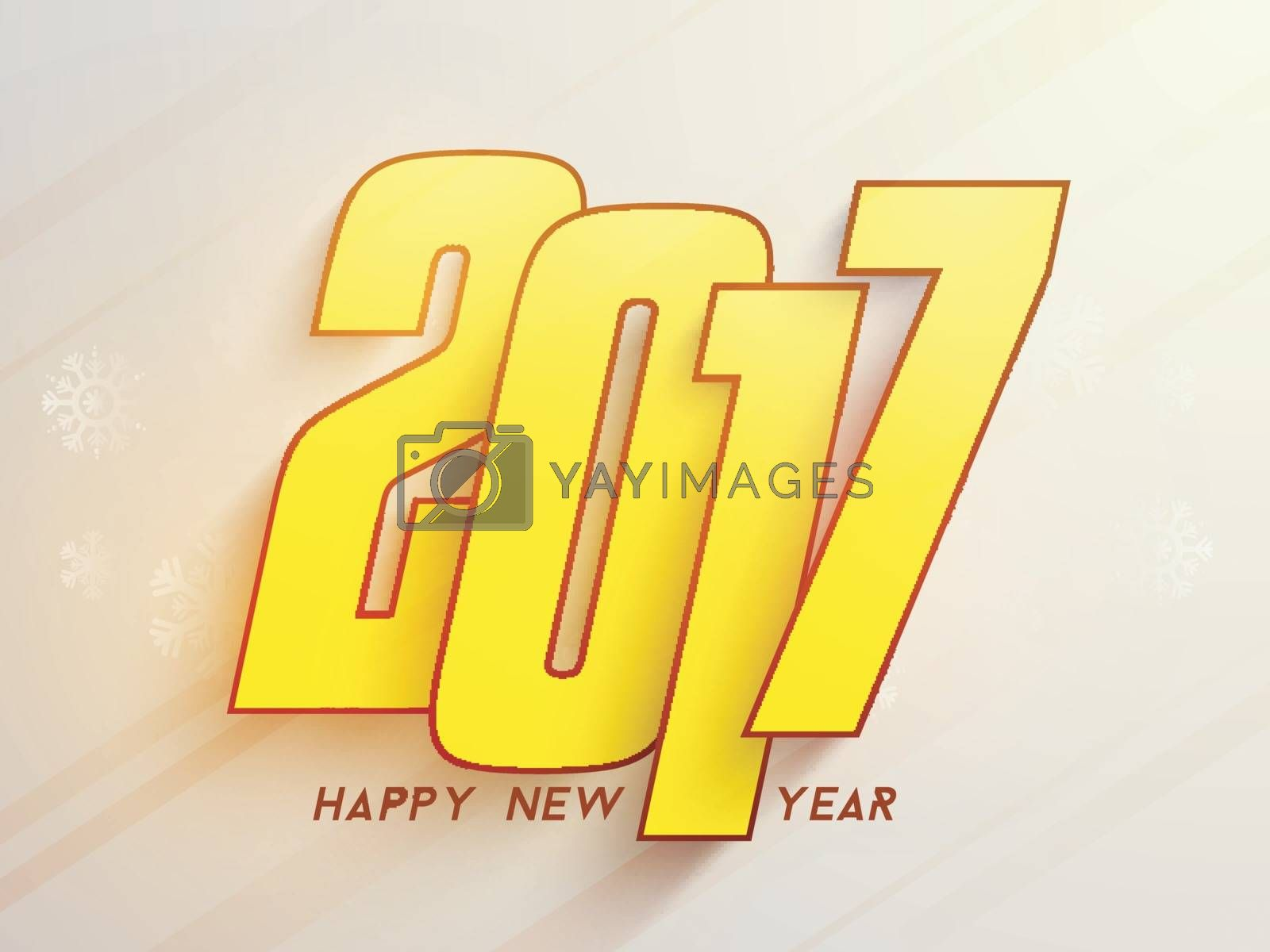Greeting card with yellow text 2017 on snowflakes decorated background for Happy New Year Celebration.