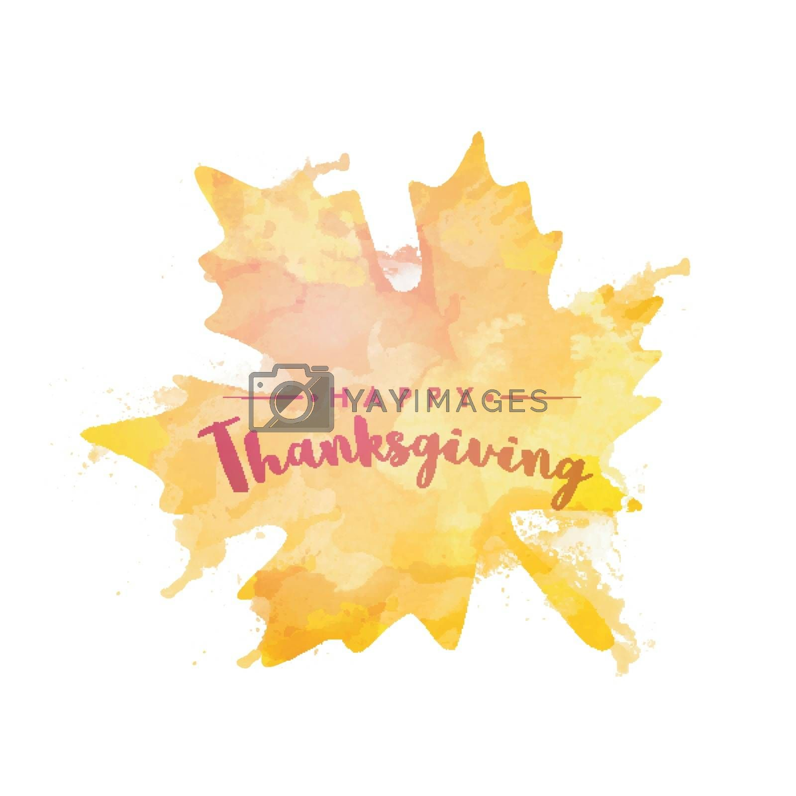 Happy Thanksgiving Day background with abstract maple leaf made by watercolor splash on white background.