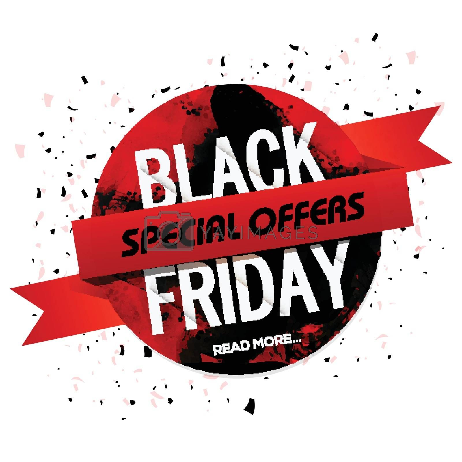 Black Friday Special Offers, Sticker, Label, Tag with glossy ribbon, Useable for Poster, Banner, Flyer or Pamphlet design.