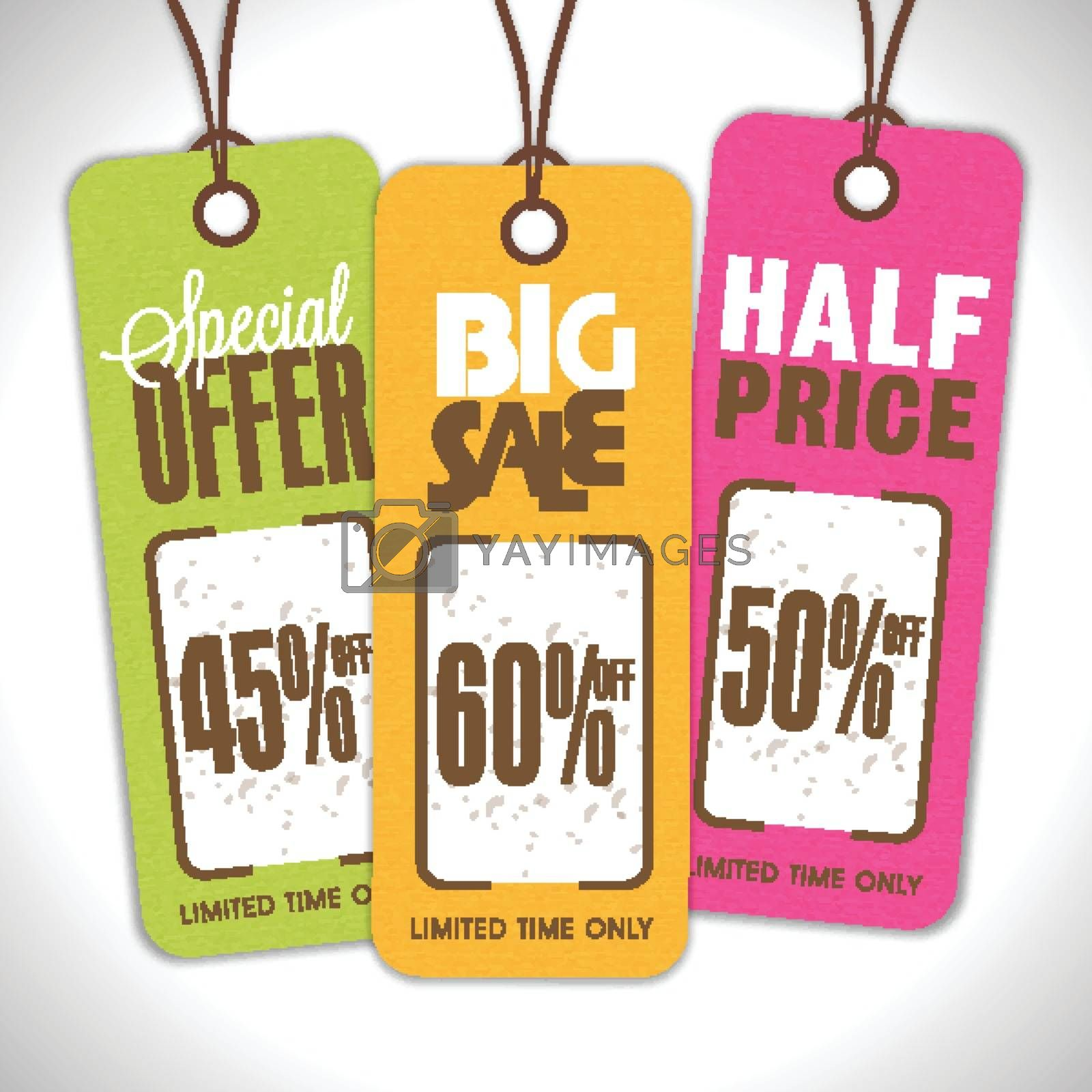 Set of Vintage style, Sale Tags with Special Offers for Limited Time Only. Vector illustration.