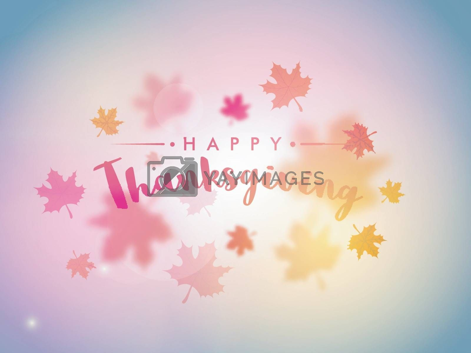 Colorful maple leaves decorated shiny background for Happy Thanksgiving Day celebration.