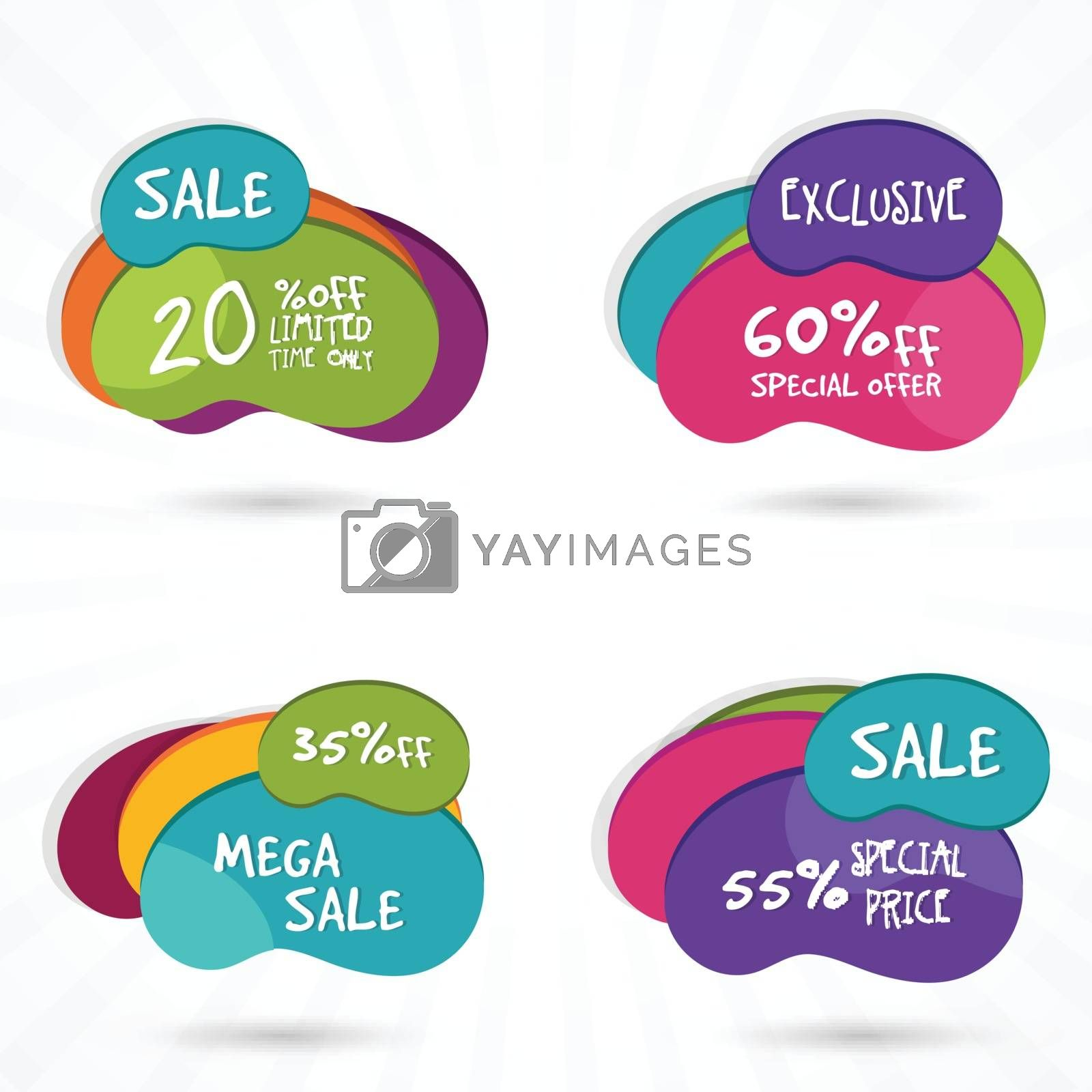 Set of creative colorful Stickers, Tags or Labels with different Discount Offers, Vector illustration.