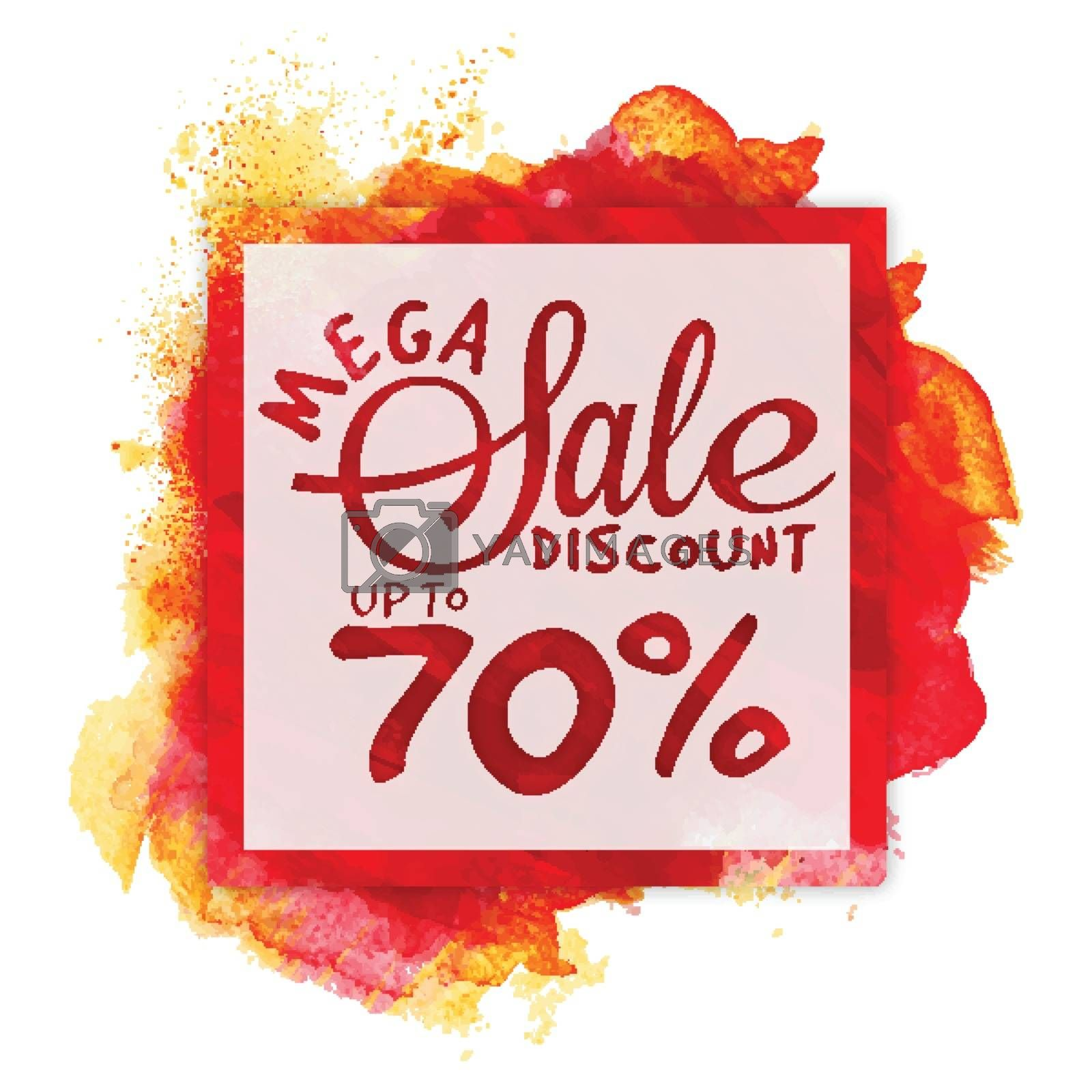Mega Sale Frame, Discount Upto 70% Off, Clearance Offer, Creative Poster, Banner, Flyer or Pamphlet with abstract color stroke.