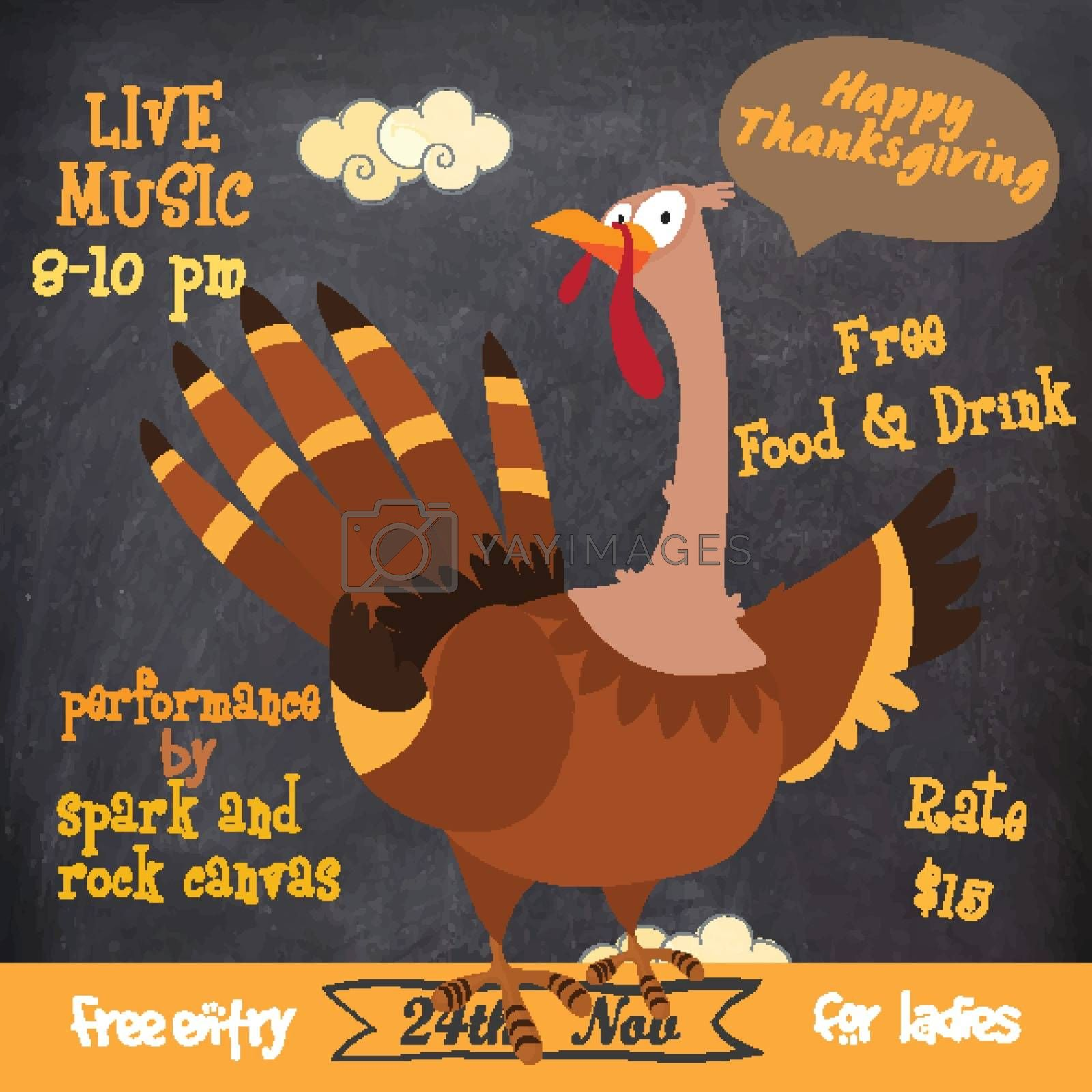 Creative invitation card with illustration of turkey bird on chalkboard background for Happy Thanksgiving Day celebration.