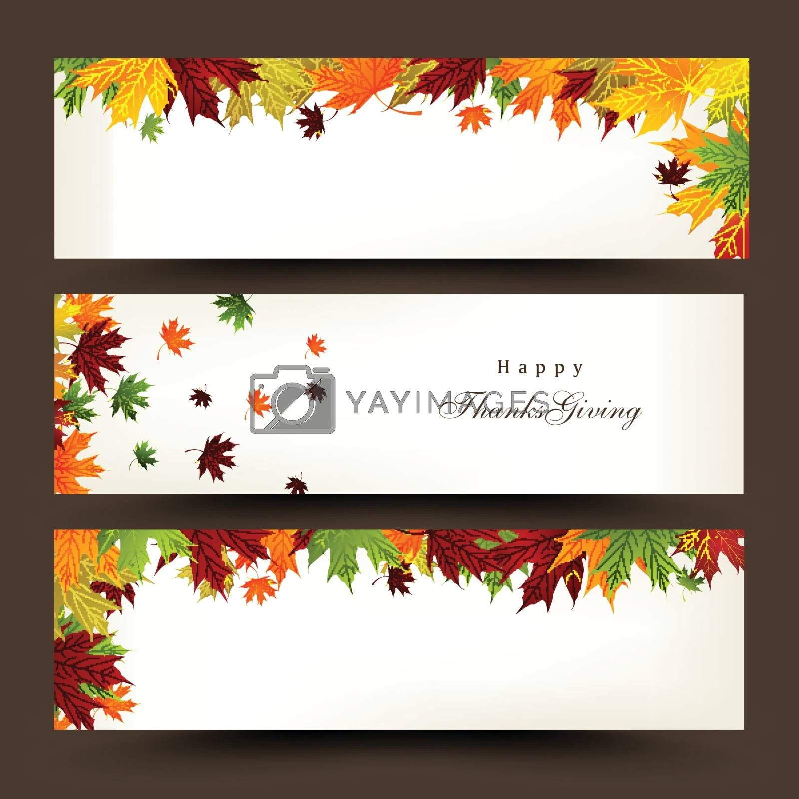 Creative website header or banner set decorated with colorful maple leaves for Happy Thanksgiving Day celebration.