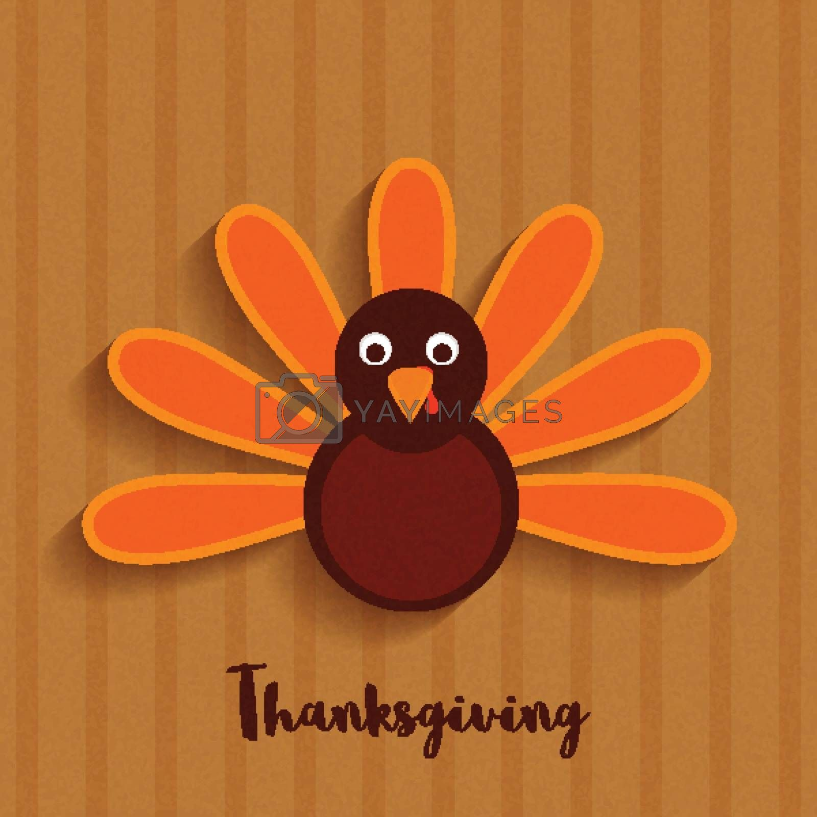 Cute Turkey Bird on brown background for Happy Thanksgiving Day celebration.