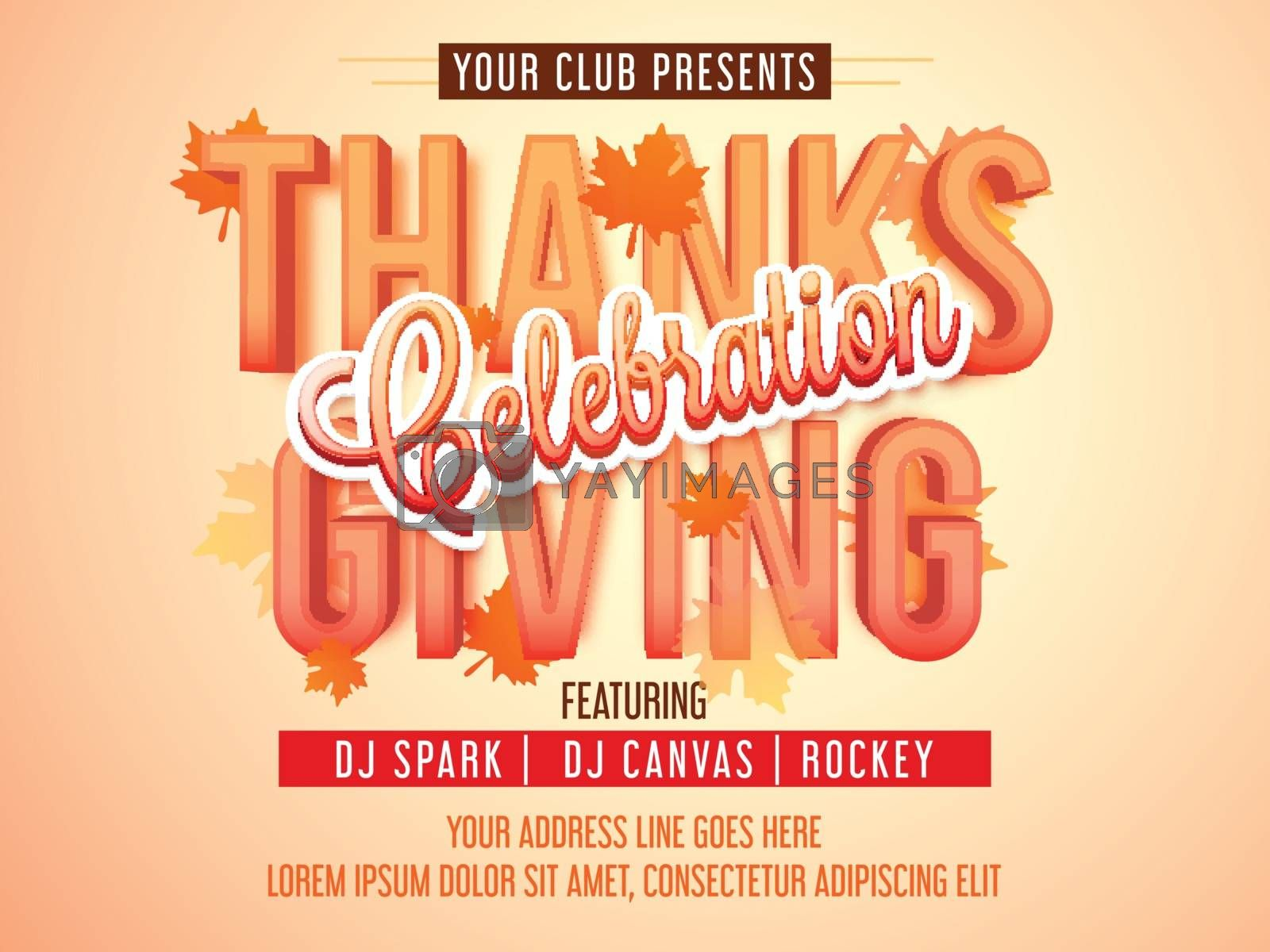 3D text Thanks Giving on maple leaves decorated background, Creative Poster, Banner or Flyer design for Thanksgiving Day Party celebration.