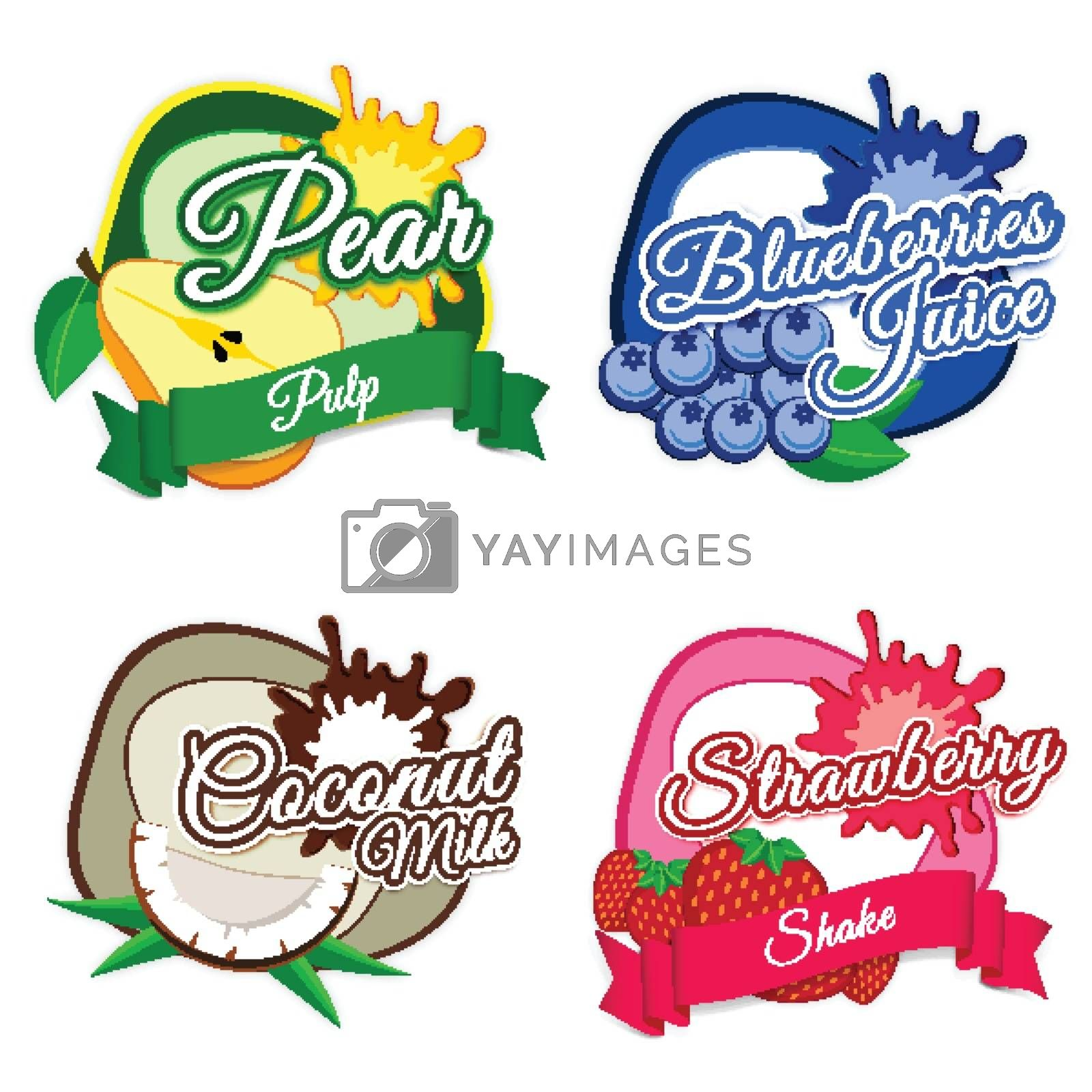 Creative Stickers of Pear, Blueberries, Coconut and Strawberry Fruits with splash, Fresh Fruits Typographic Labels, Tags or Badges set, Healthy Food concept, Vector illustration.