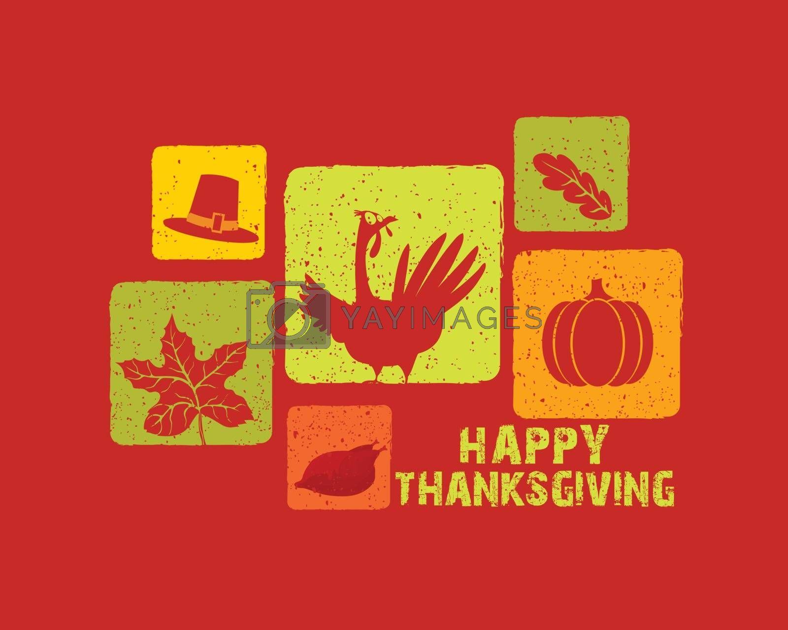 Creative background with different symbols for Happy Thanksgiving Day celebration.