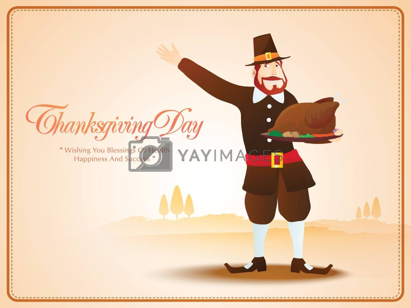 Pilgrim man holding roasted chicken on shiny background for Happy Thanksgiving Day celebration.