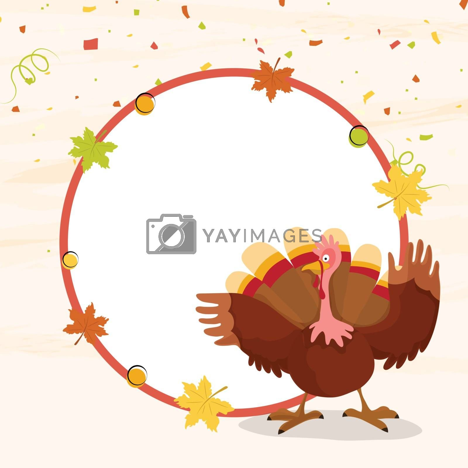 Turkey Bird on maple leaves decorated background. Greeting Card with space for your text. Vector illustration for Happy Thanksgiving Day celebration.