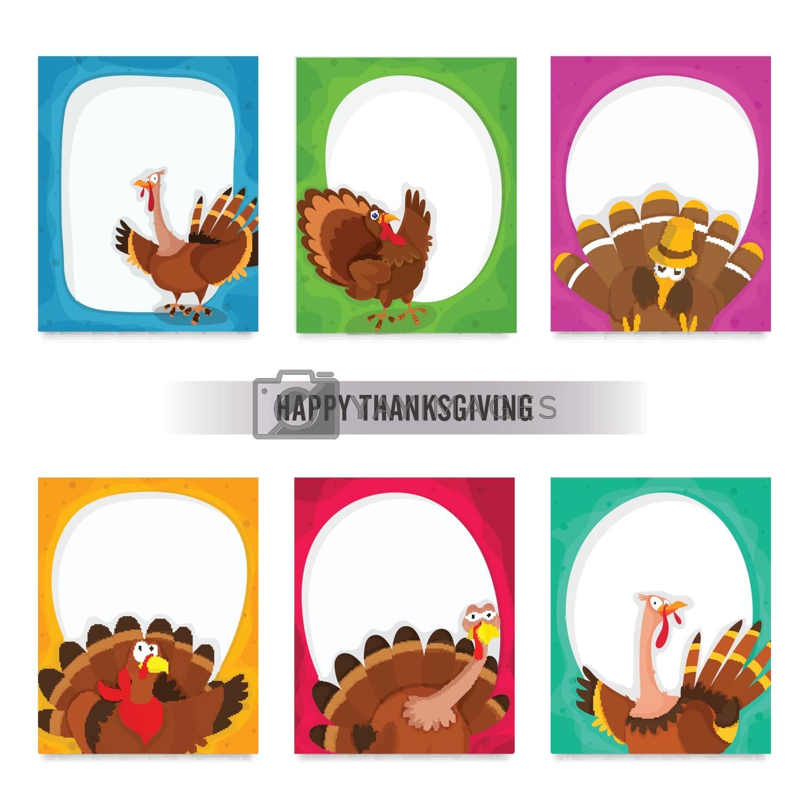 Happy Thanksgiving Day greeting card set with illustration of turkey bird, Creative vector illustration.