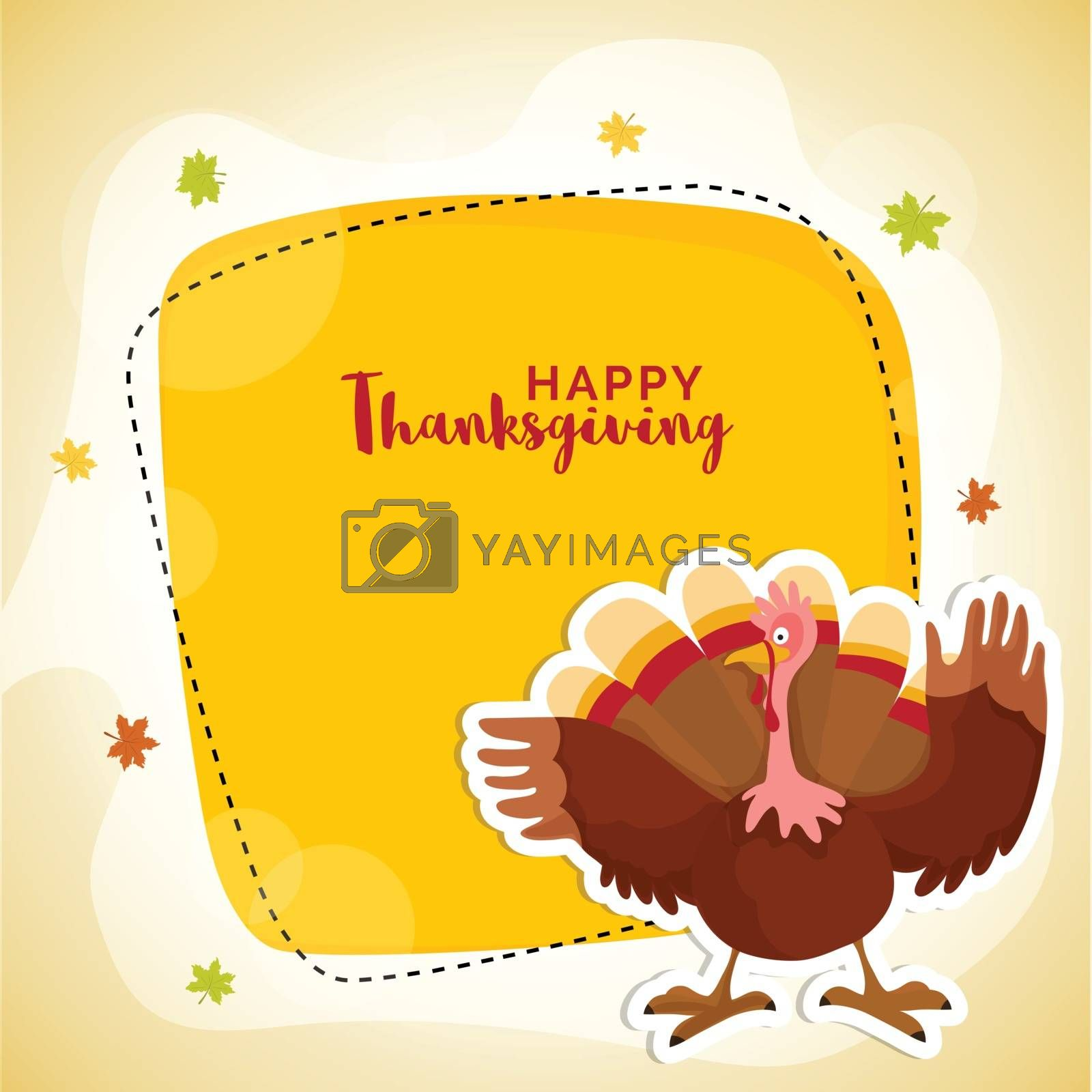 Elegant greeting card design with illustration of a turkey bird on maple leaves decorated background for Happy Thanksgiving Day celebration.