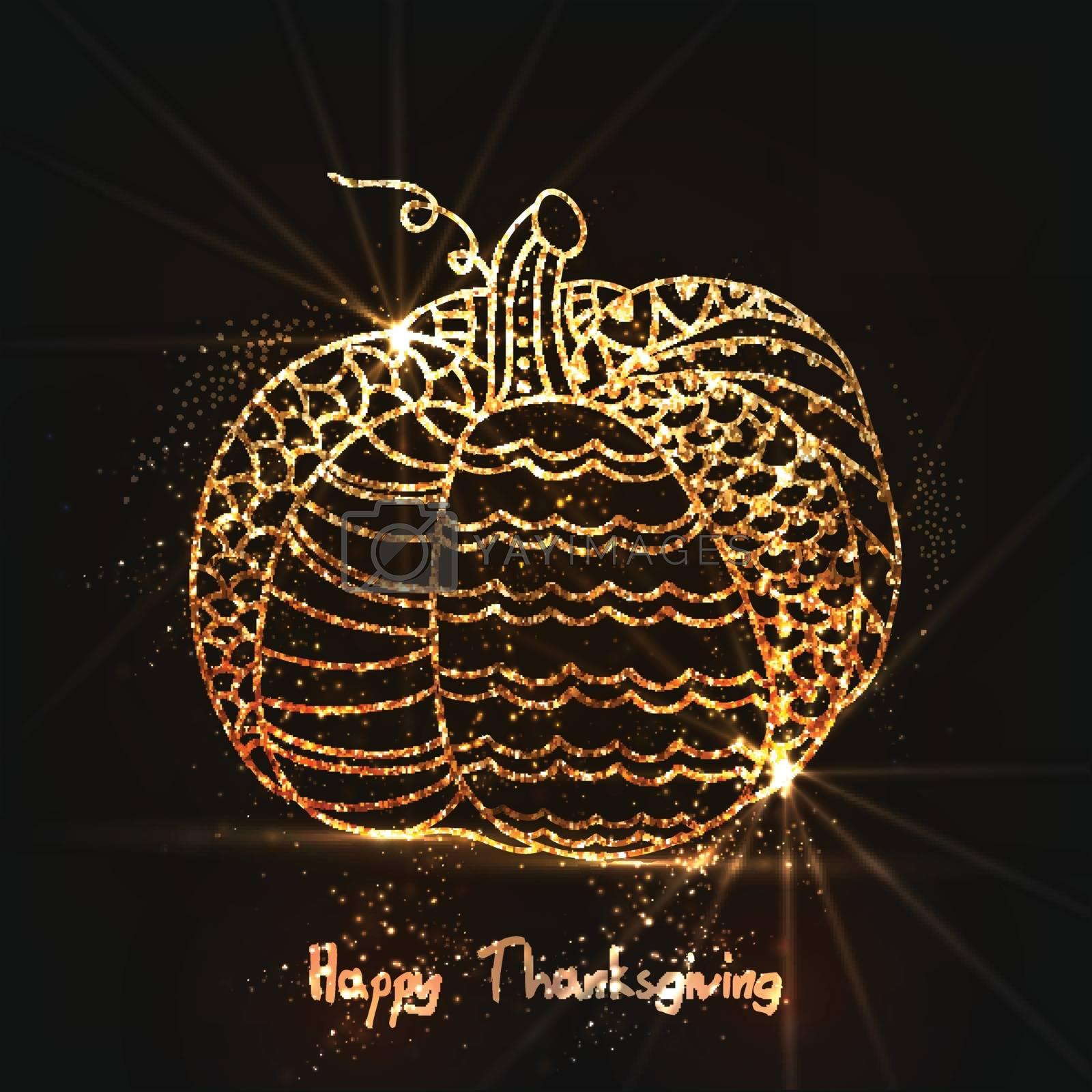 Golden pumpkin for Happy Thanksgiving Day celebration.