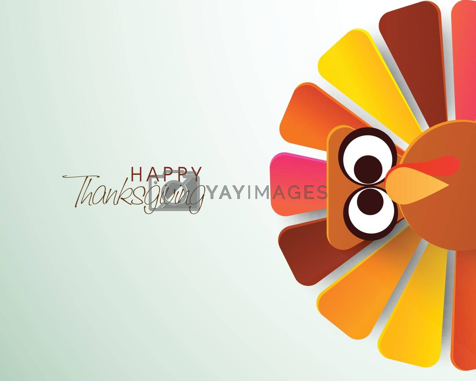Colorful Turkey Bird for Thanksgiving Day. by aispl