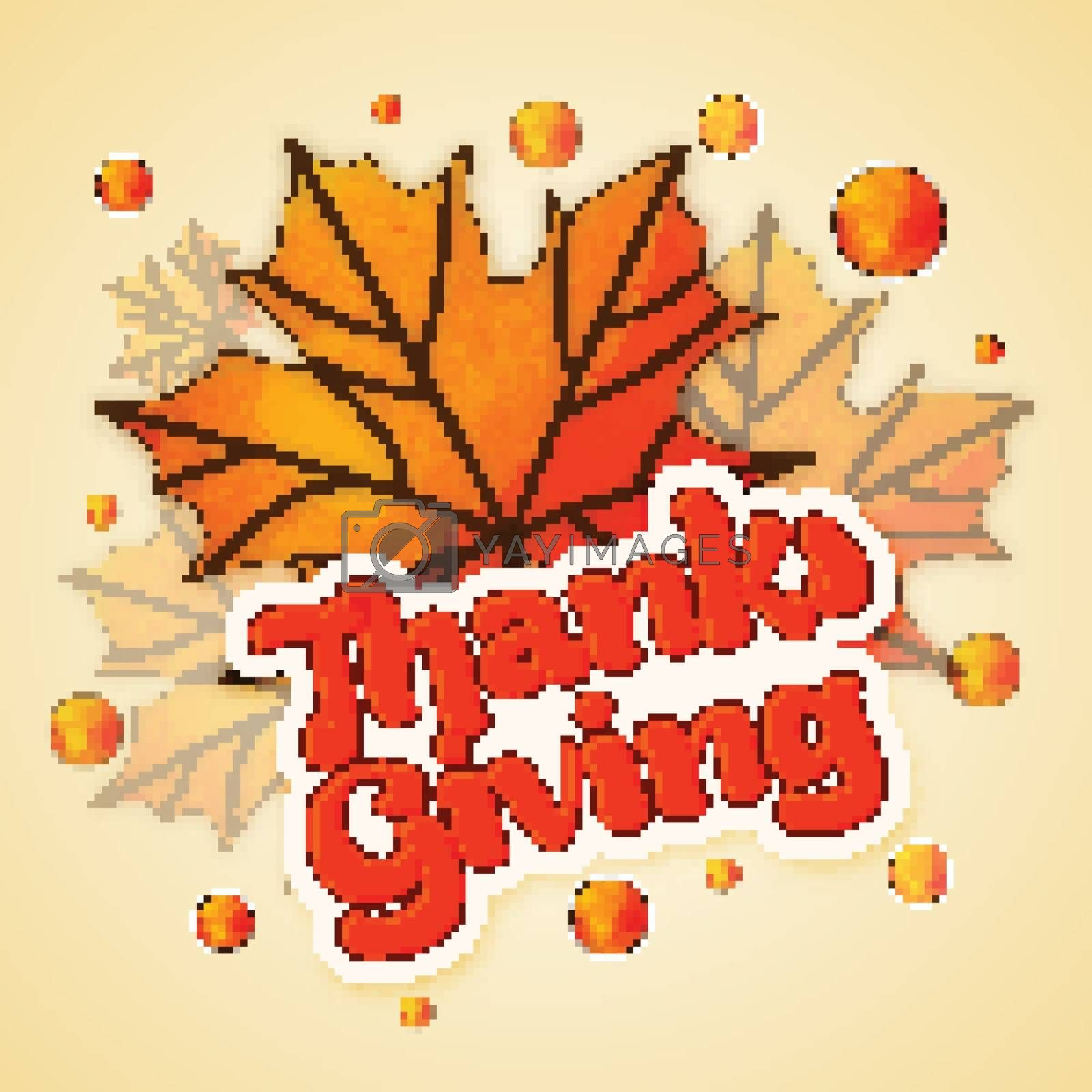 Sticky design with stylish text Thanks Giving on maple leaves decorated background for Happy Thanksgiving Day celebration.