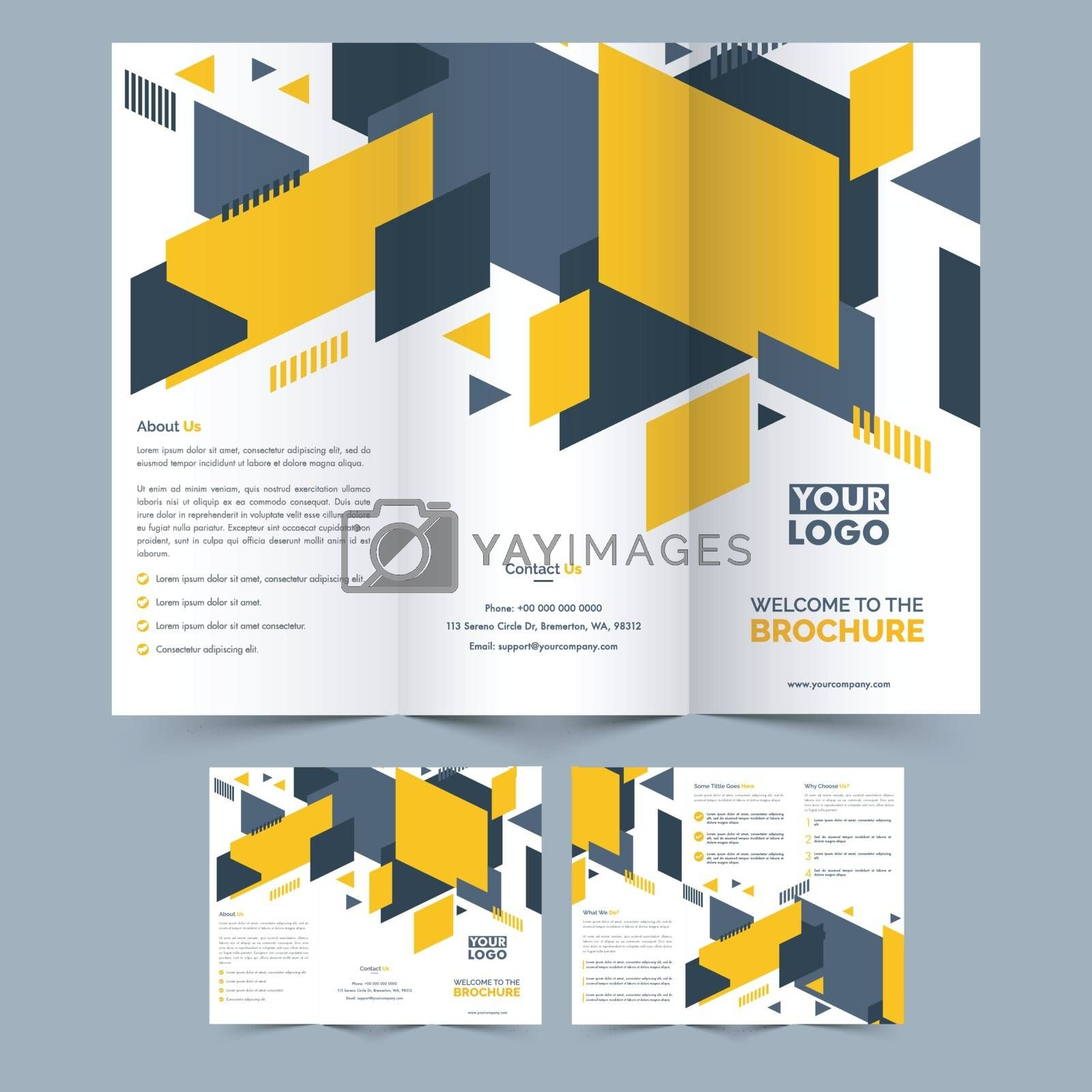 Two Page Three Fold Brochure layout with abstract design for Business.