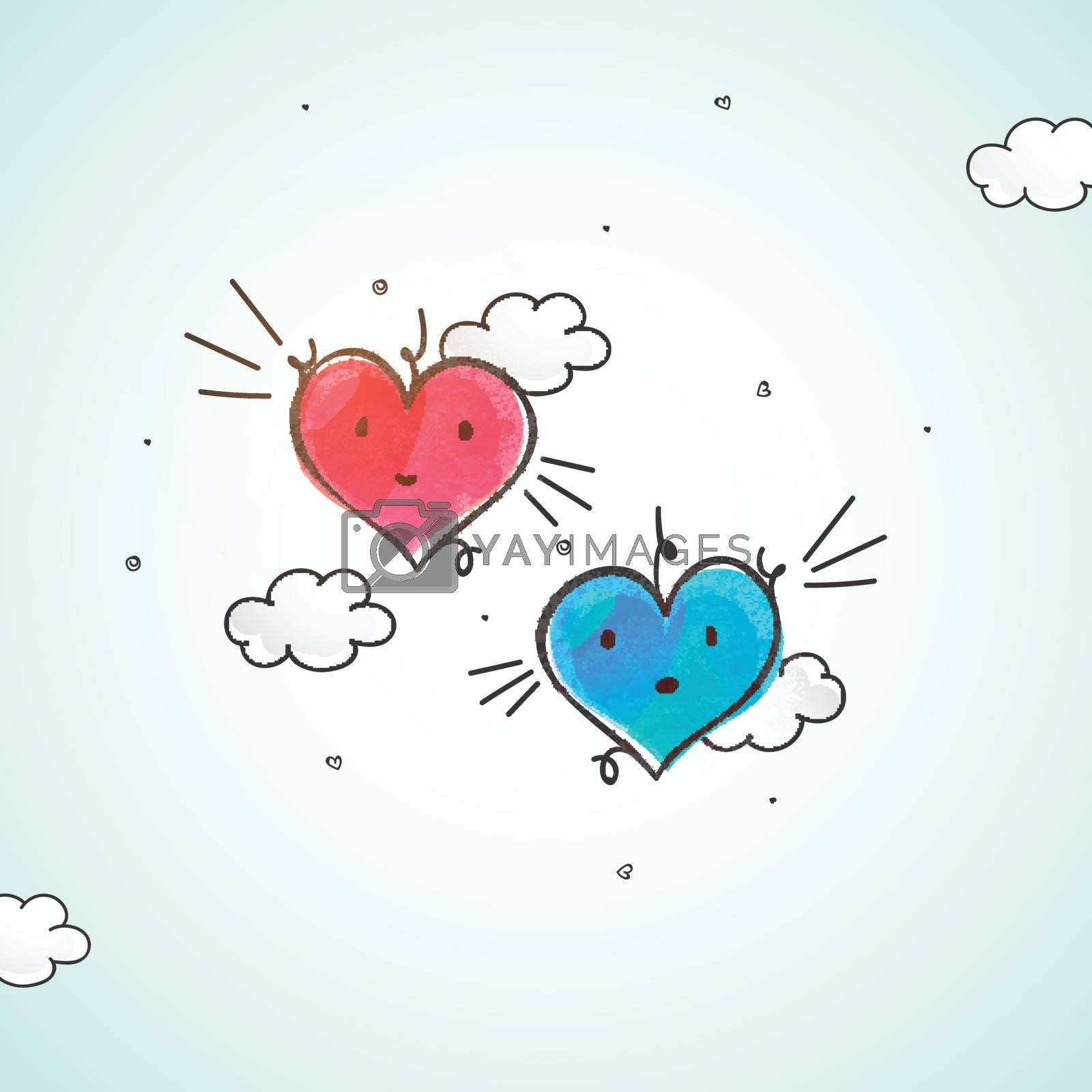 Creative Pink and Blue Hearts on clouds decorated background for Happy Valentine's Day Celebration.