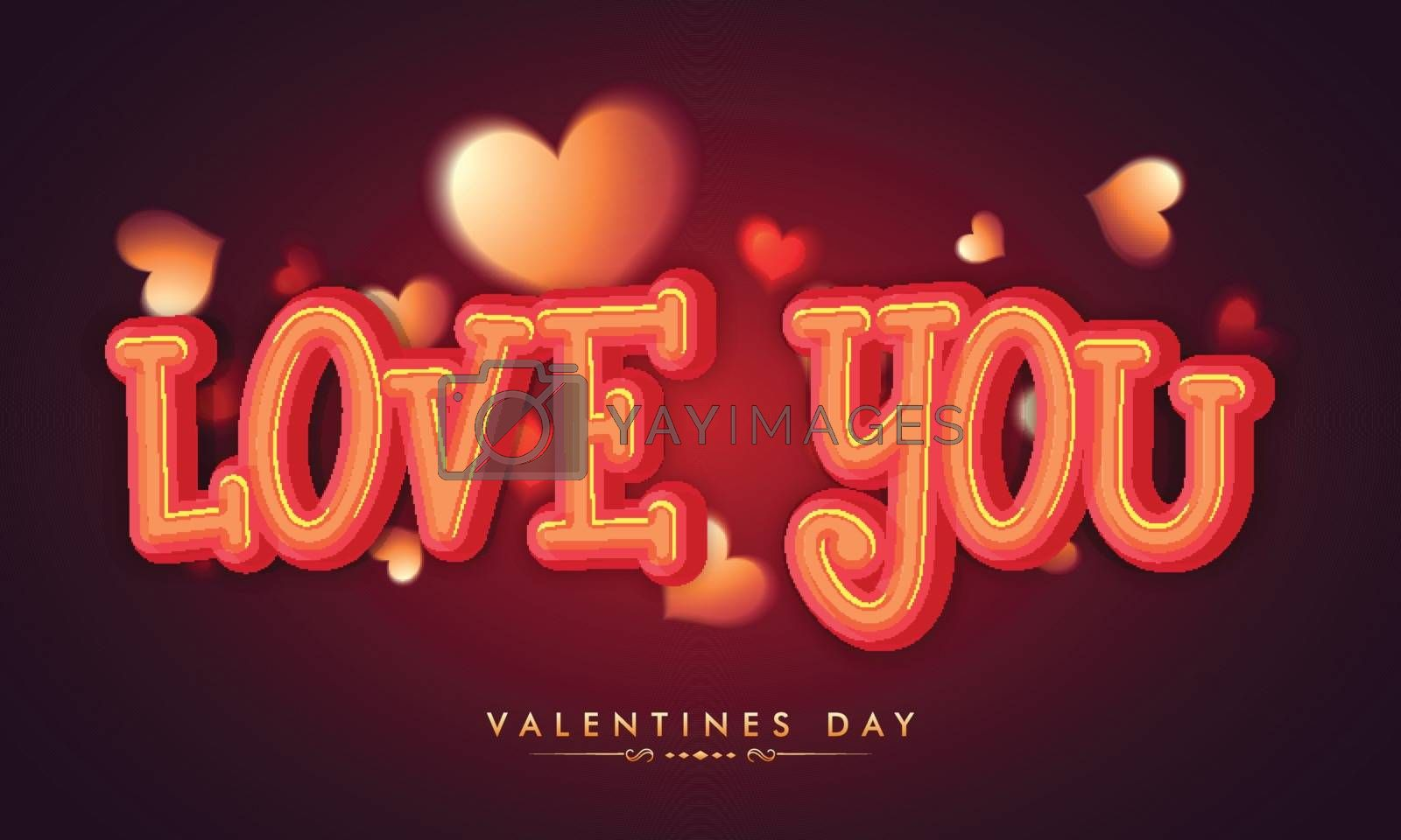 Glossy Text Love You on Hearts decorated background for Happy Valentine's Day Celebration.