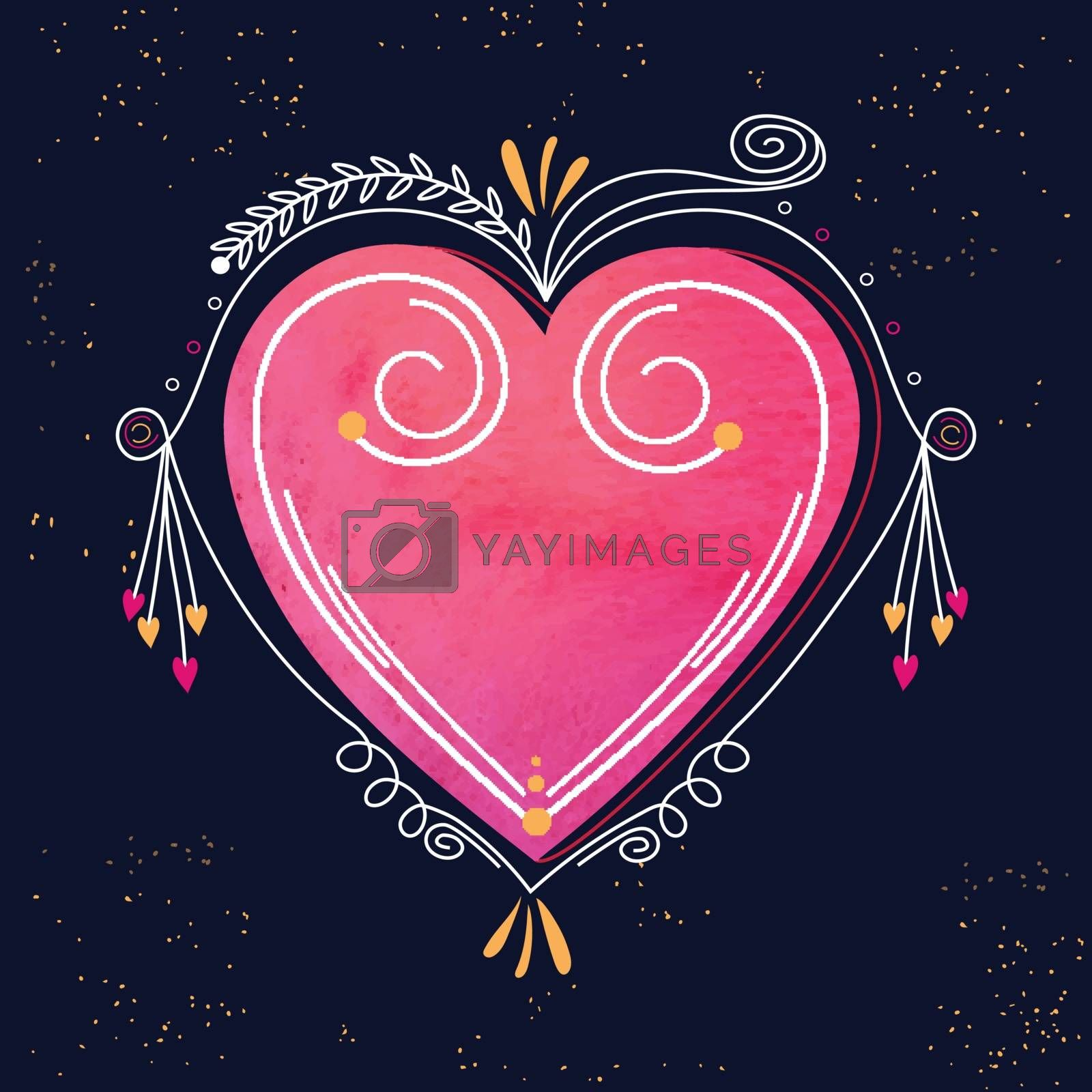 Creative Heart with floral design, Beautiful greeting card for Happy Valentine's Day Celebration.