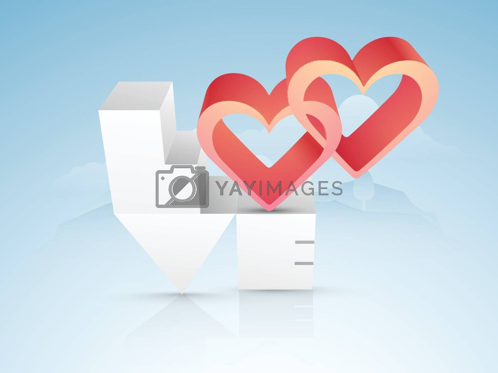 Creative 3D Text Love with Hearts on glossy background for Happy Valentine's Day celebration.