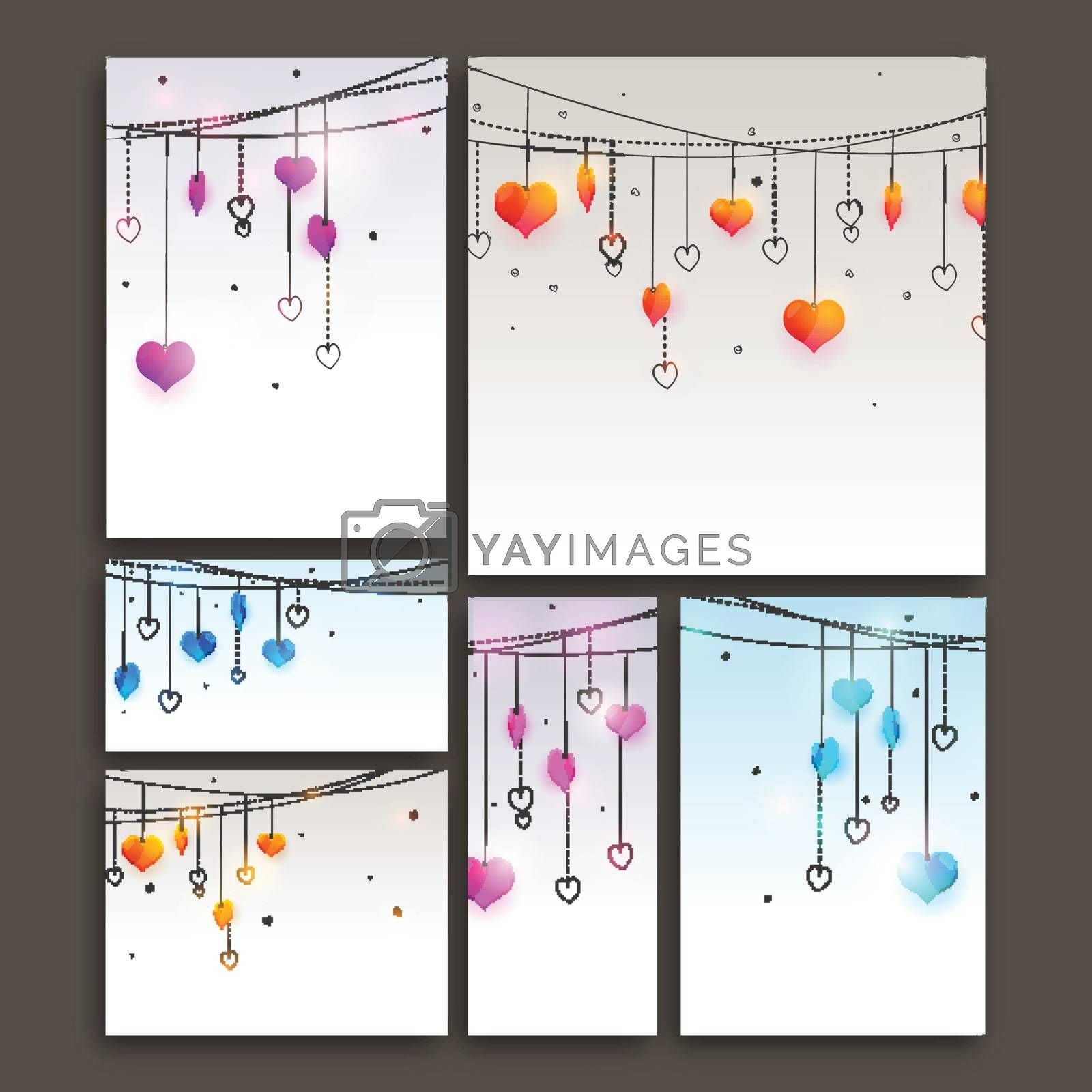 Colorful Hearts decorated Greeting, Invitations, Banners or Post for Happy Valentine's Day Celebration.