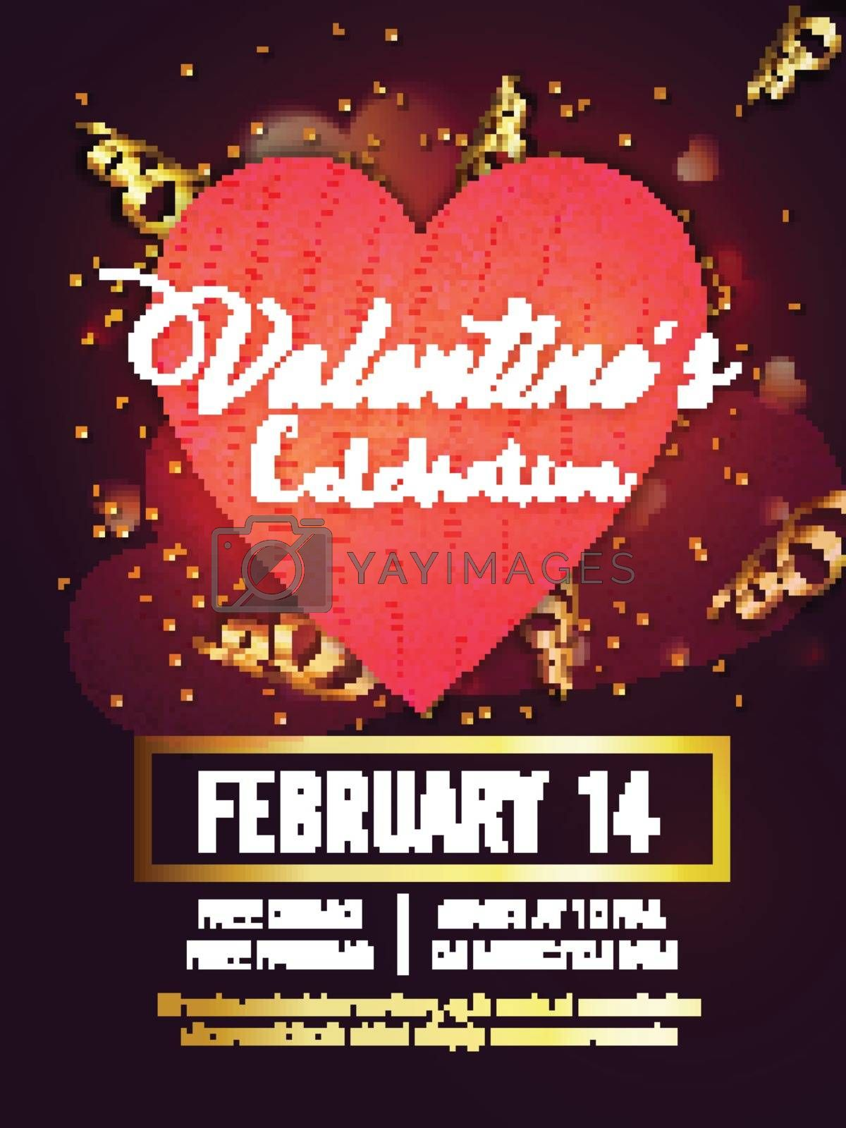 Happy Valentine's Day Party celebration Template, Banner, Flyer or Invitation Card design with Hearts and Golden Confetti decoration.