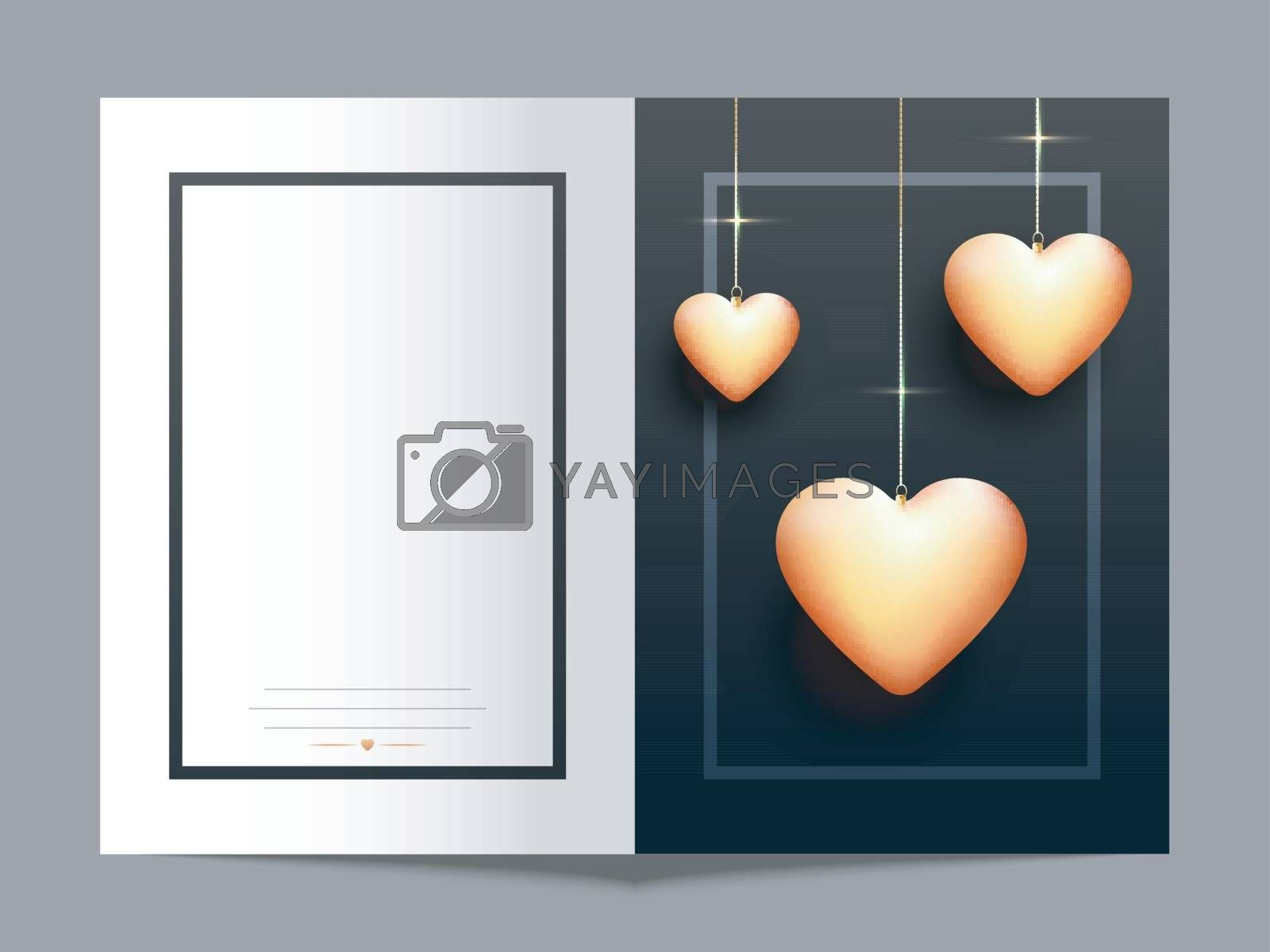 Beautiful Glossy Hearts decorated greeting card design for Happy Valentine's Day celebration.