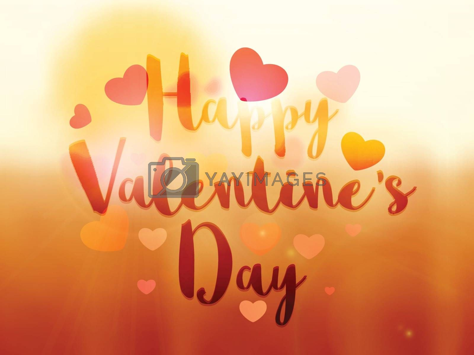 Beautiful glossy Happy Valentine's Day Typographical Background with Hearts decorations.