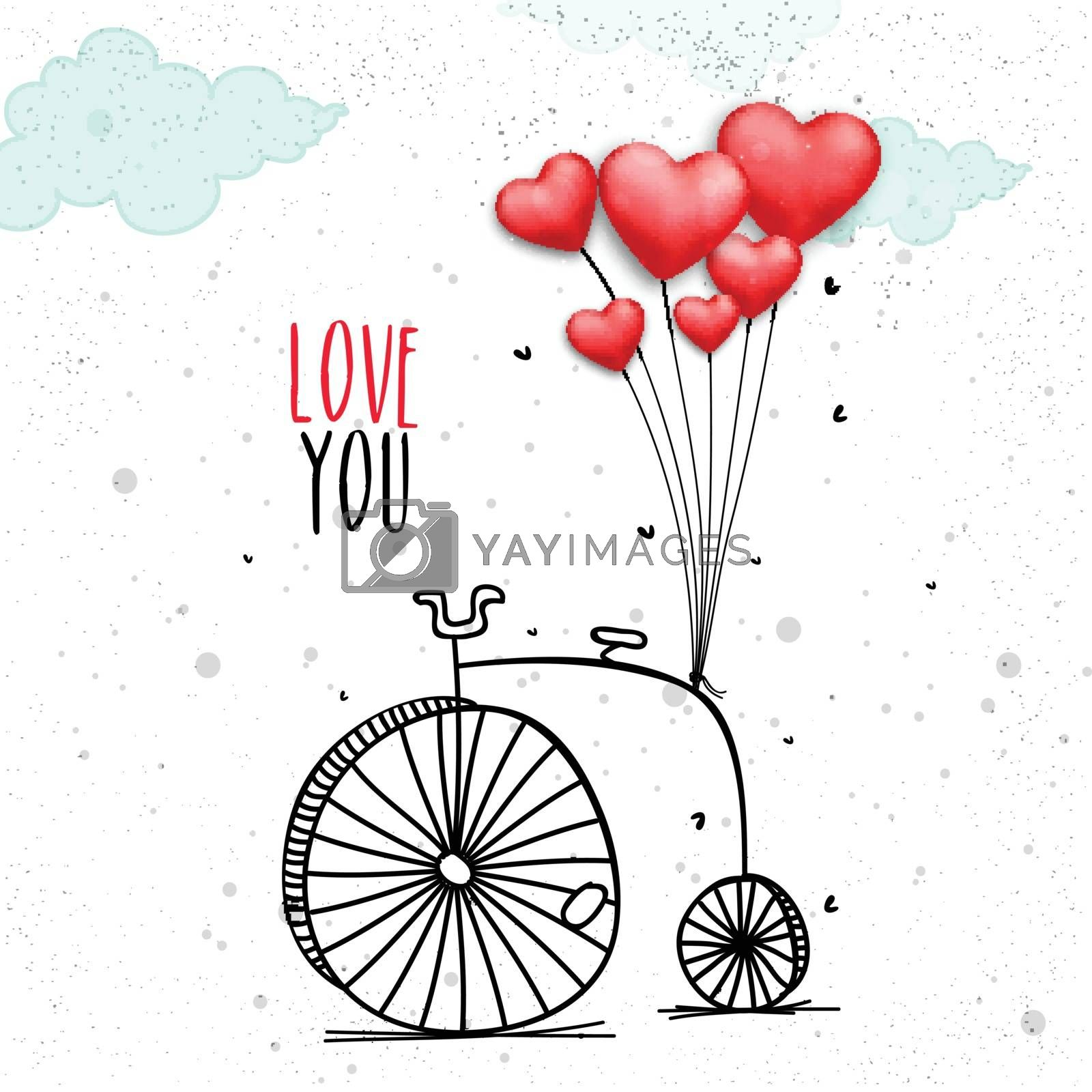 Red Heart shaped Balloons binding on Penny Farthing Bicycle. Creative illustration for Happy Valentine's Day celebration or Love concept.