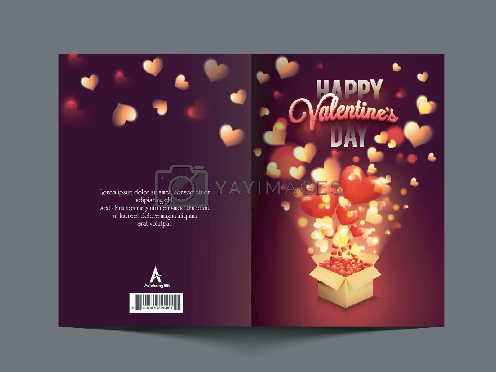 Beautiful glowing greeting card with elegant Hearts coming out from gift box for Happy Valentine's Day Celebration.