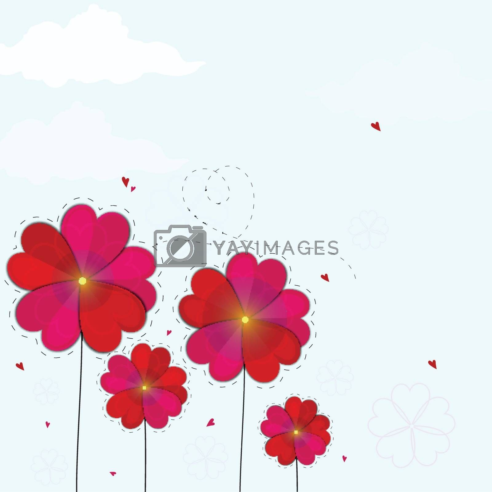 Creative heart shaped flowers for Happy Valentine's Day Celebration.