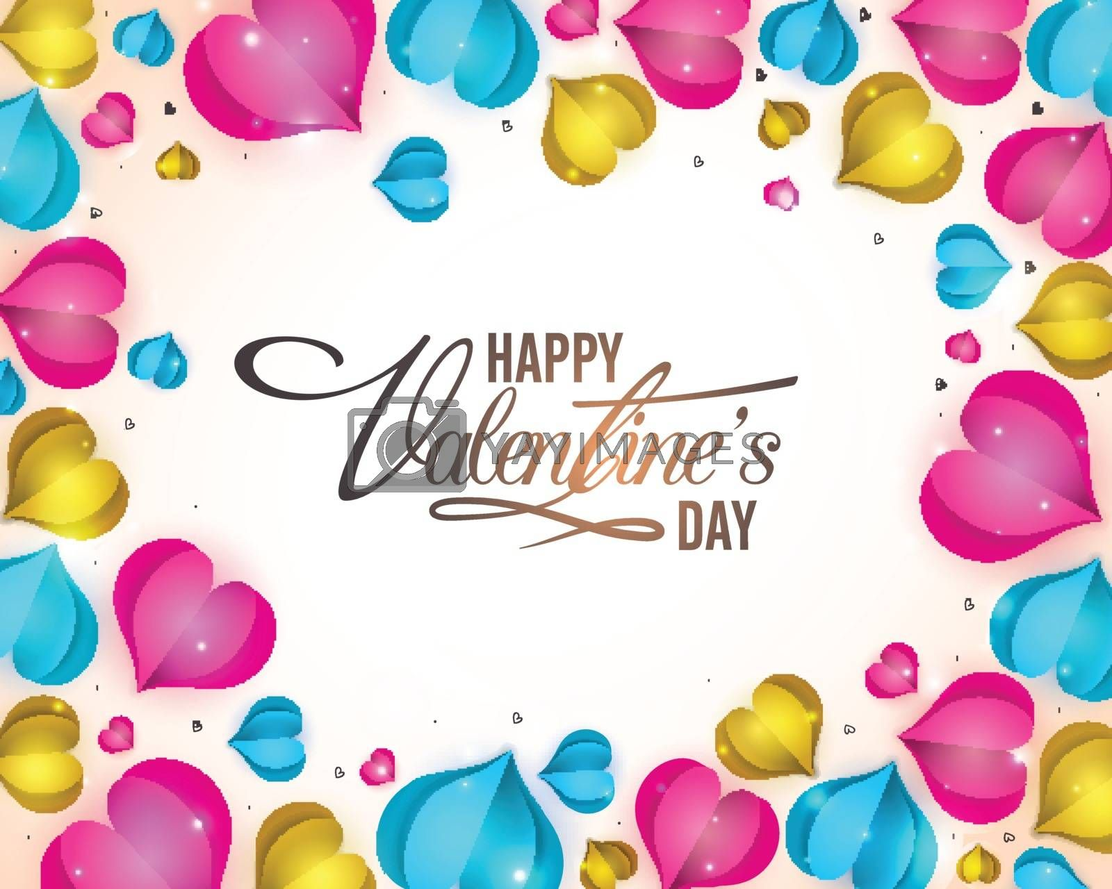 Elegant greeting card design with glossy paper cut out hearts decoration for Happy Valentine's Day celebration.