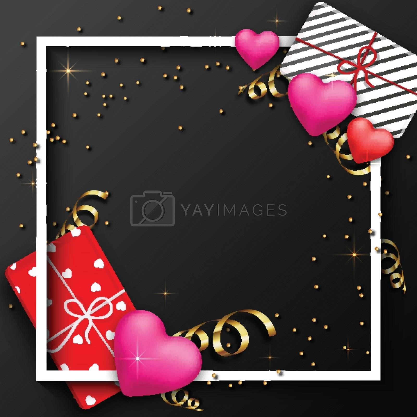 Wrapped Gifts, Hearts and Golden Confetti decorated background. Valentine's Day celebration Greeting Card design with space for your wishes.